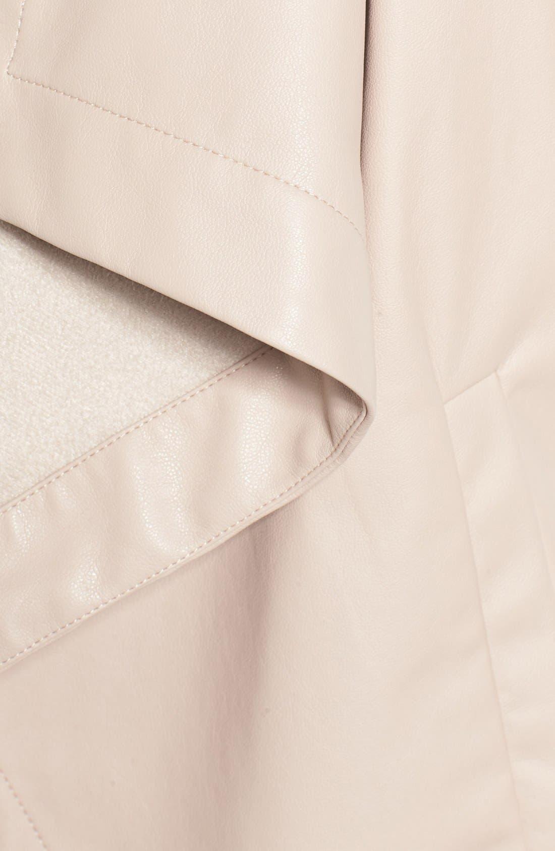 'Peppin' Drape Front Faux Leather Jacket,                             Alternate thumbnail 45, color,