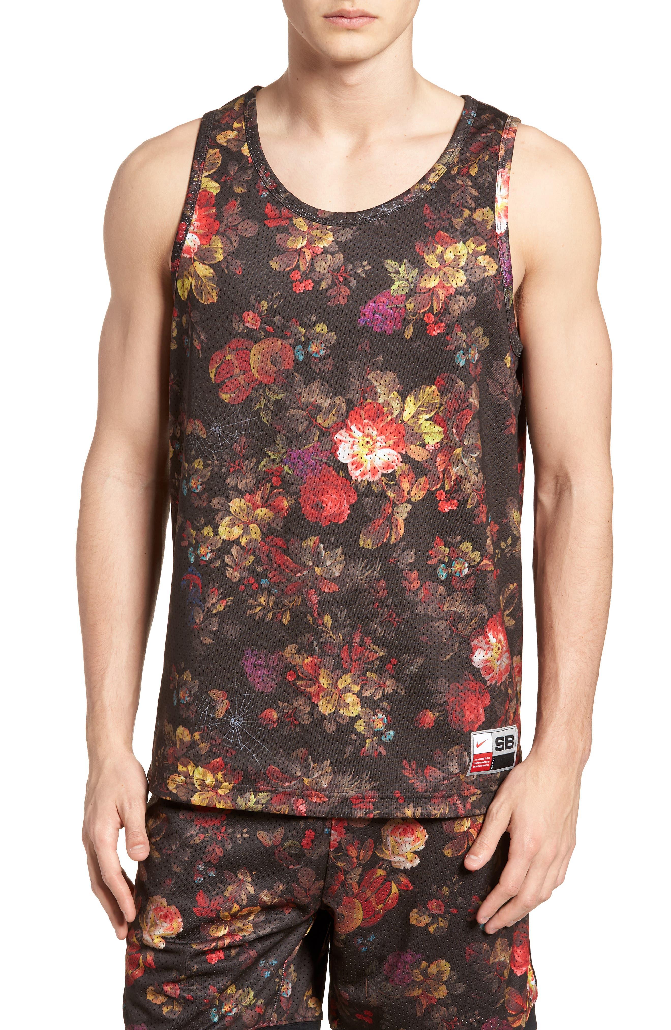 Nike Dry Reversible Floral Mesh Tank,                             Main thumbnail 1, color,                             BLACK/ WHITE