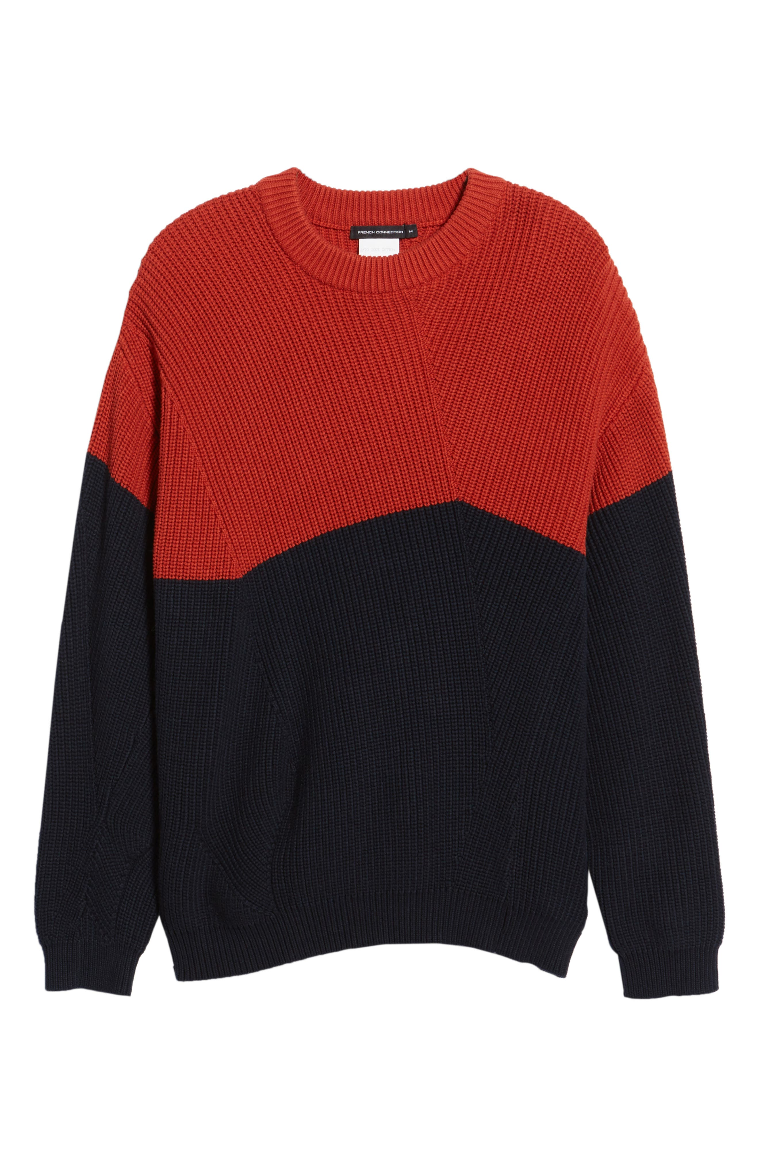 Asymmetrical Colorblock Sweater,                             Alternate thumbnail 6, color,                             ROOIBOS TEA