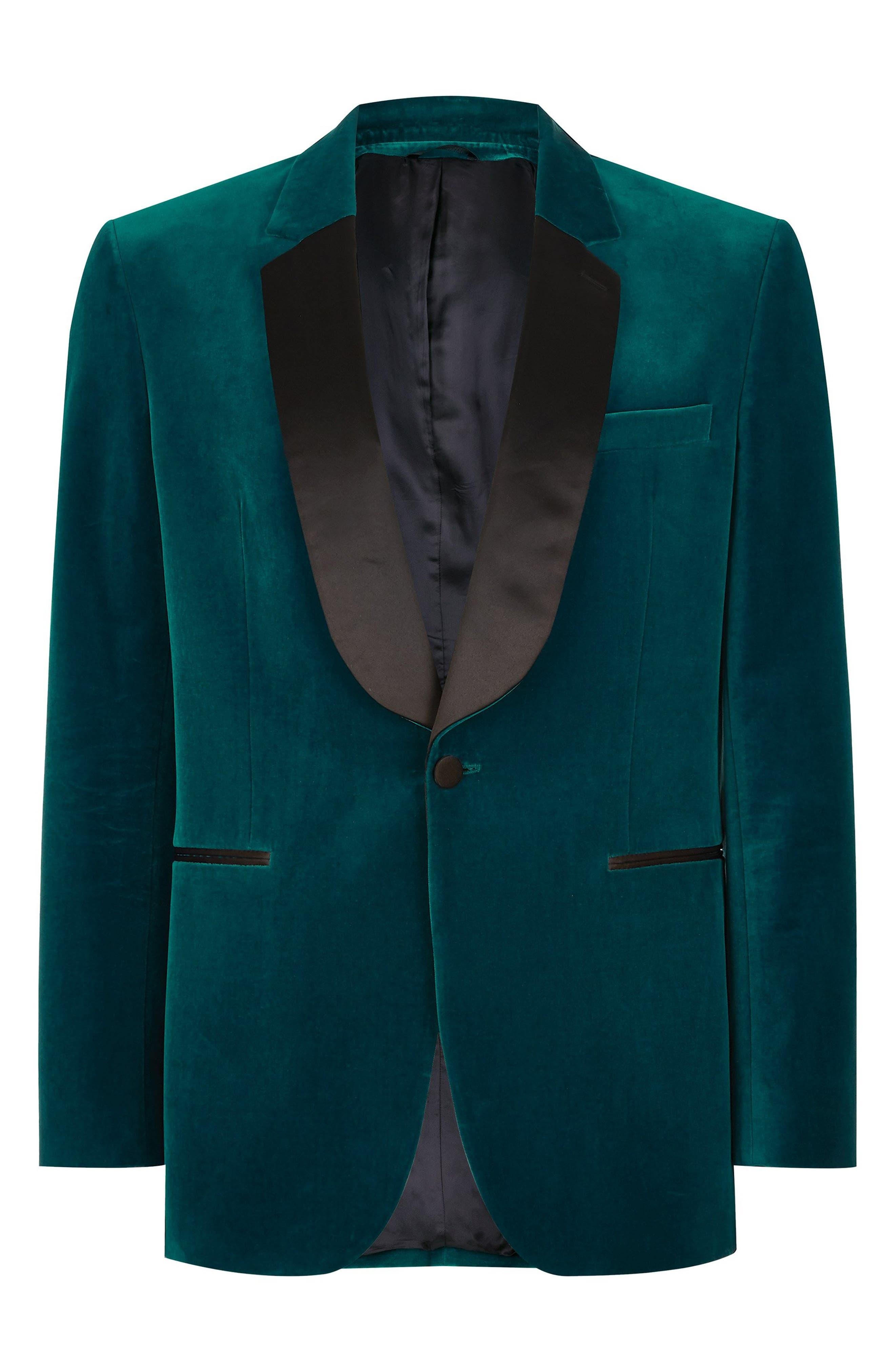 TOPMAN,                             Casely Hayford Skinny Fit Velvet Blazer,                             Alternate thumbnail 3, color,                             BLUE MULTI