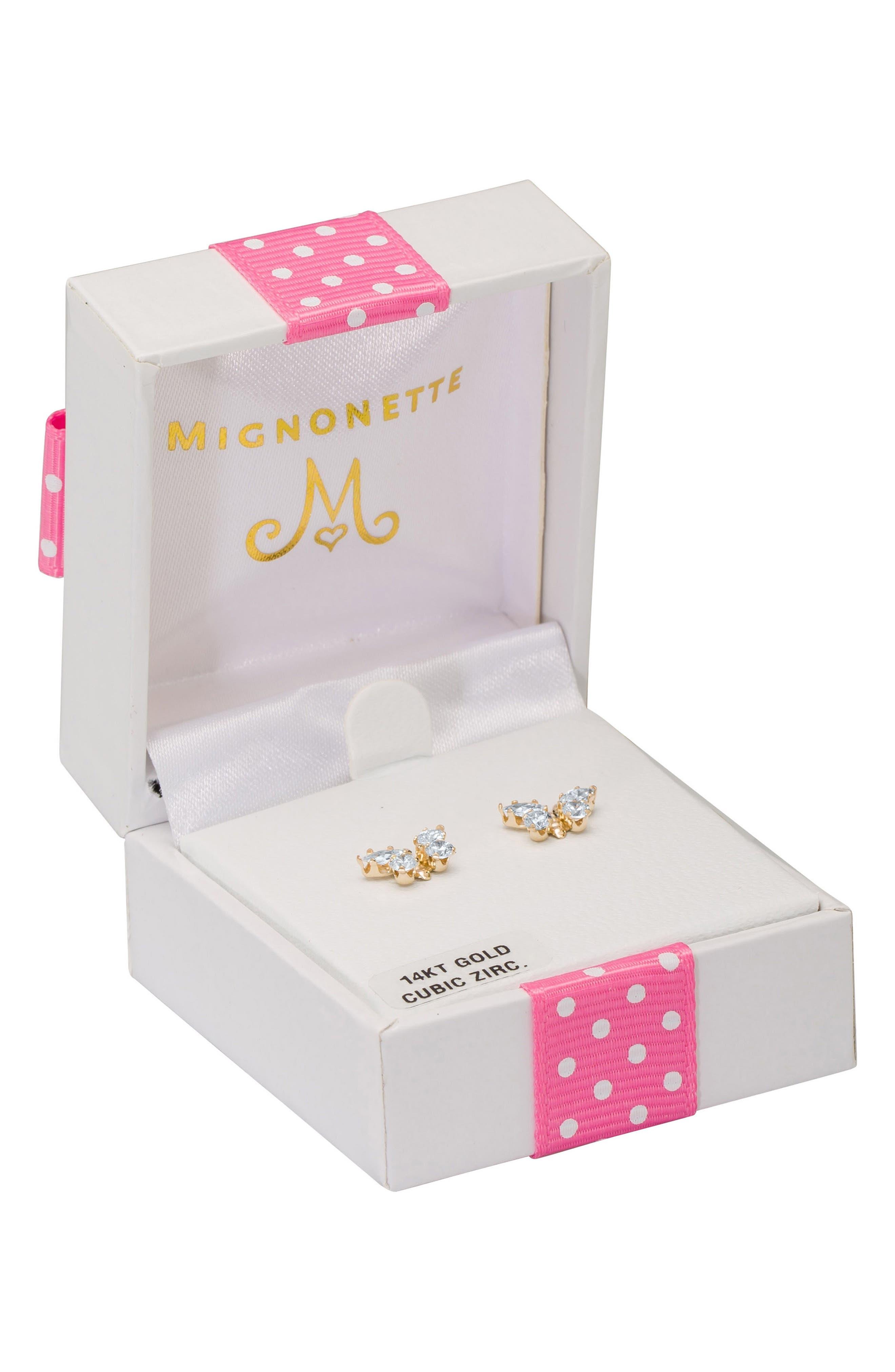 MIGNONETTE,                             Butterfly Birthstone Gold Earrings,                             Alternate thumbnail 3, color,                             APRIL