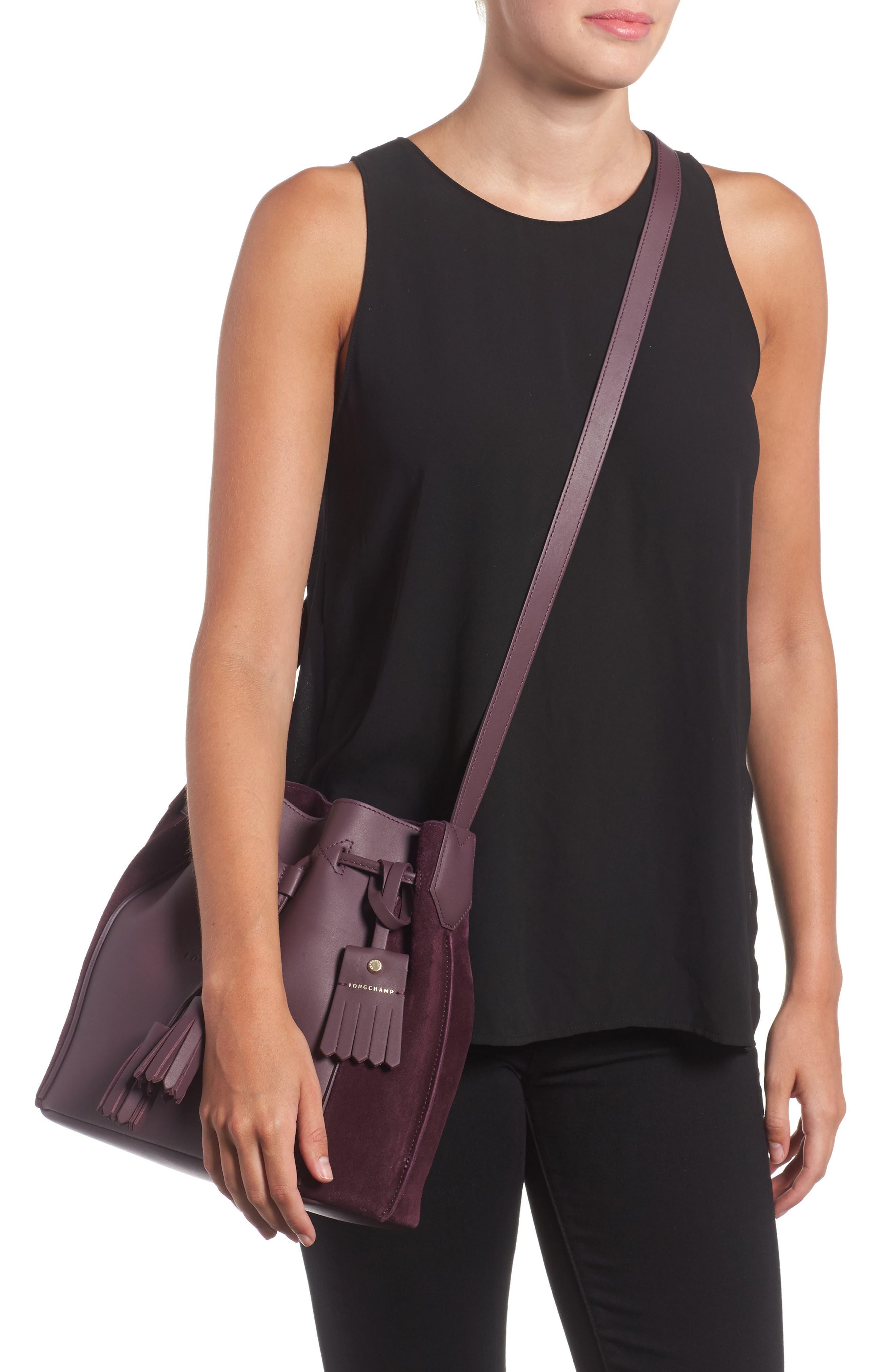 Penelope Fantasie Leather Bucket Bag,                             Alternate thumbnail 4, color,