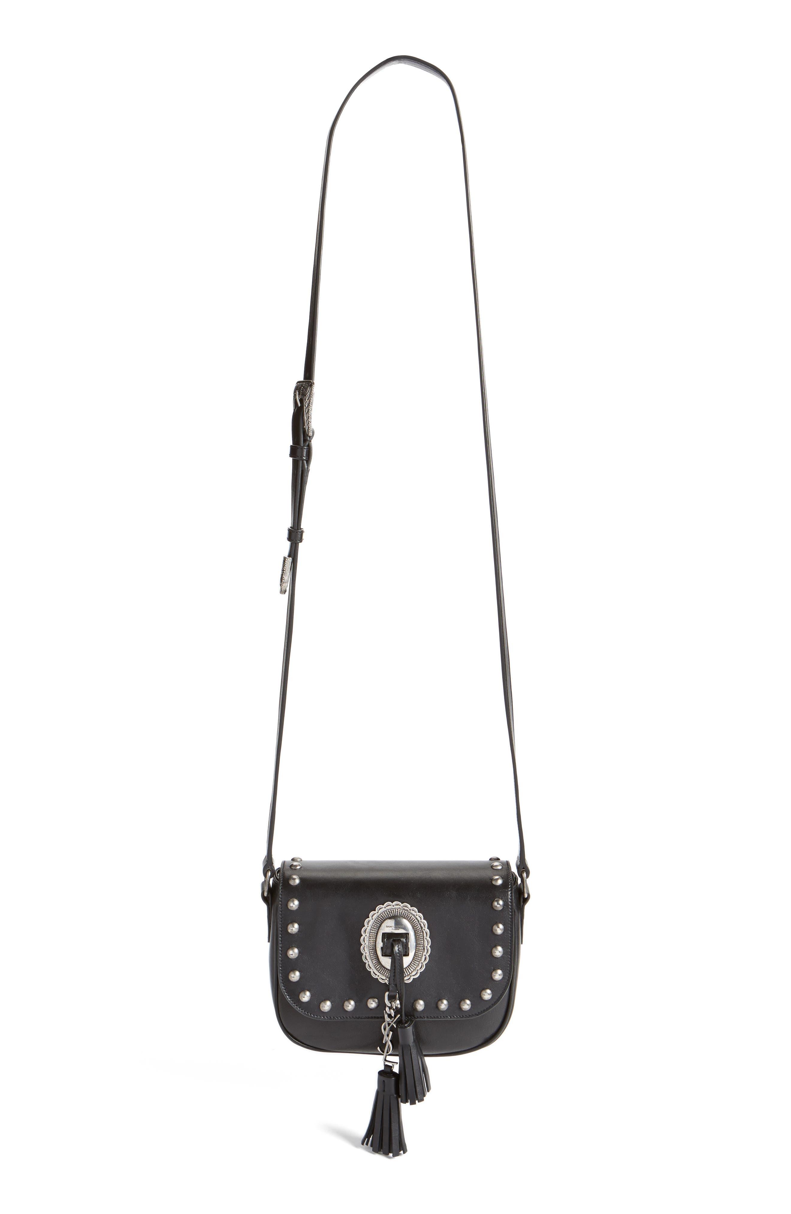 'Small Kim' Calfskin Crossbody Bag,                             Alternate thumbnail 3, color,                             001