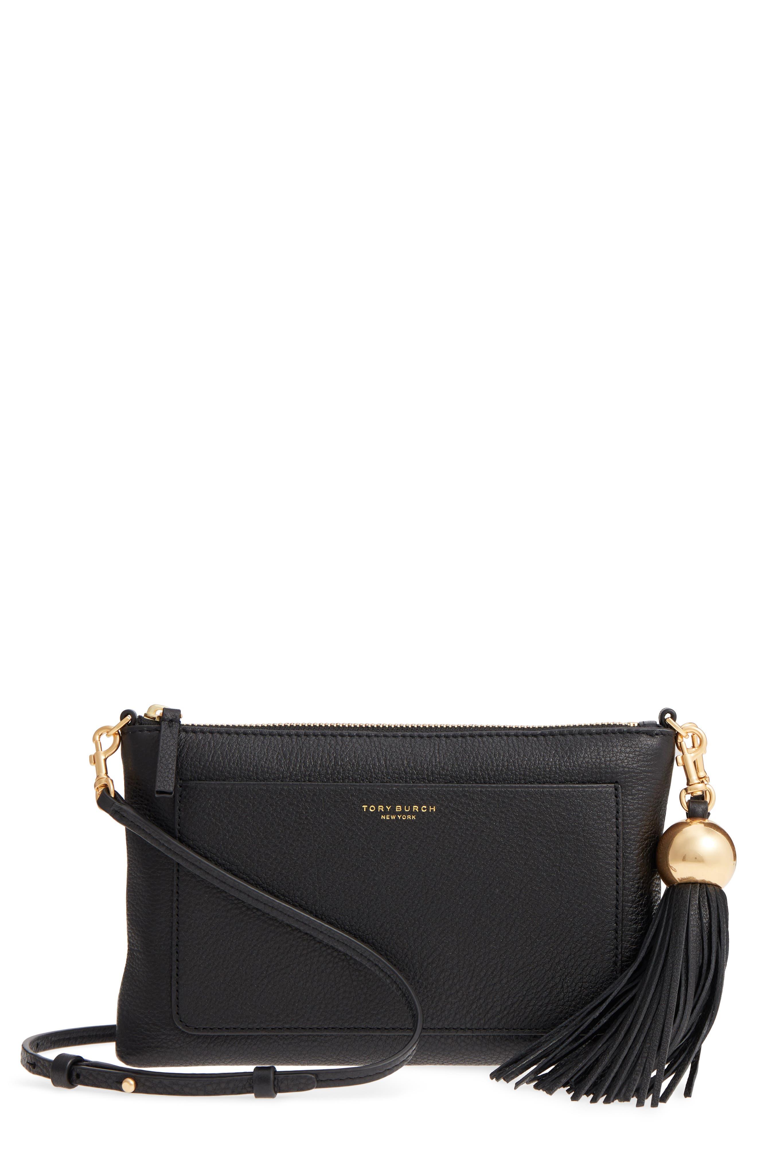 Tassel Leather Crossbody Bag,                             Main thumbnail 1, color,                             BLACK