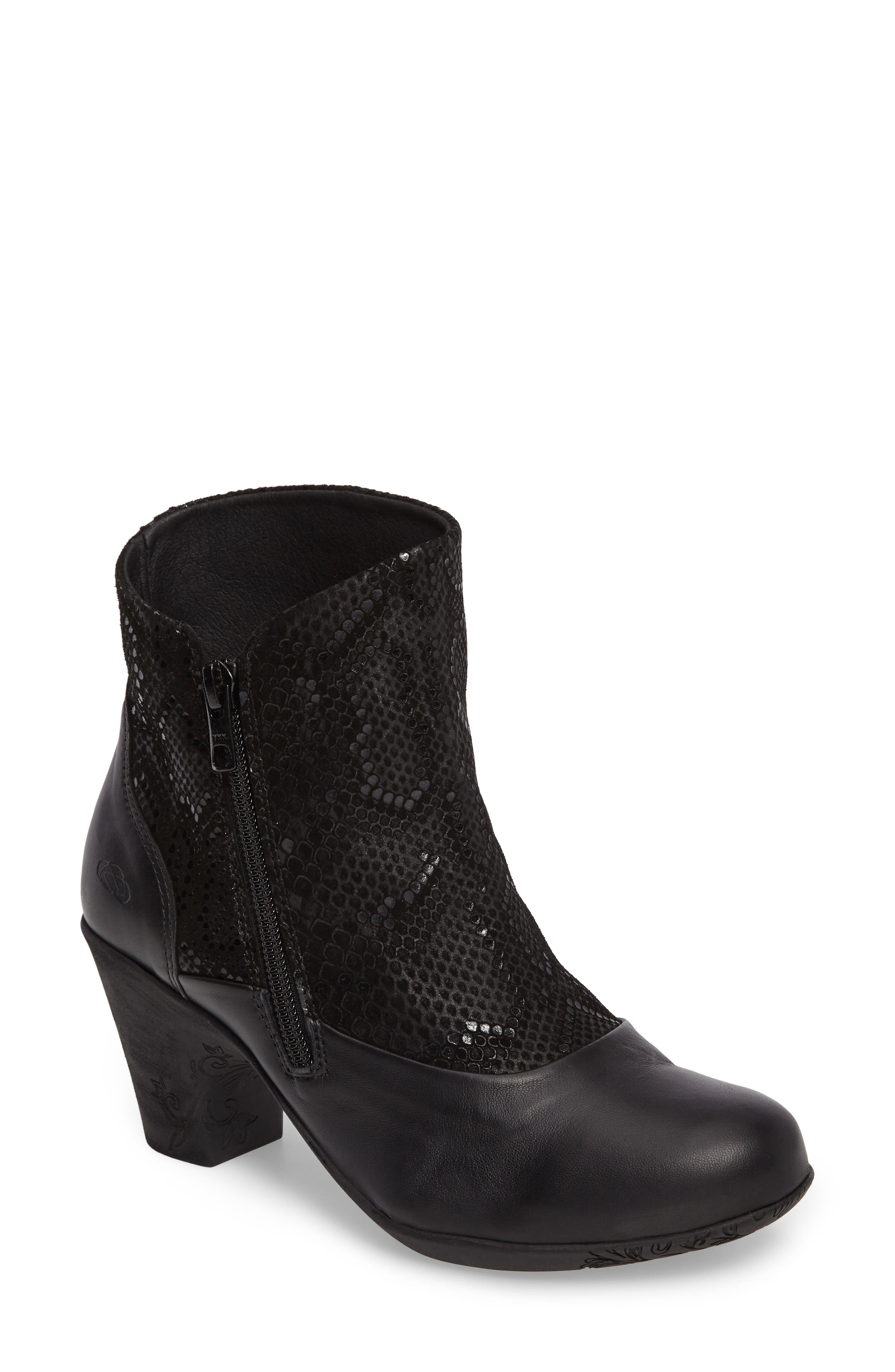 Janis Snake Embossed Bootie,                             Main thumbnail 1, color,                             001