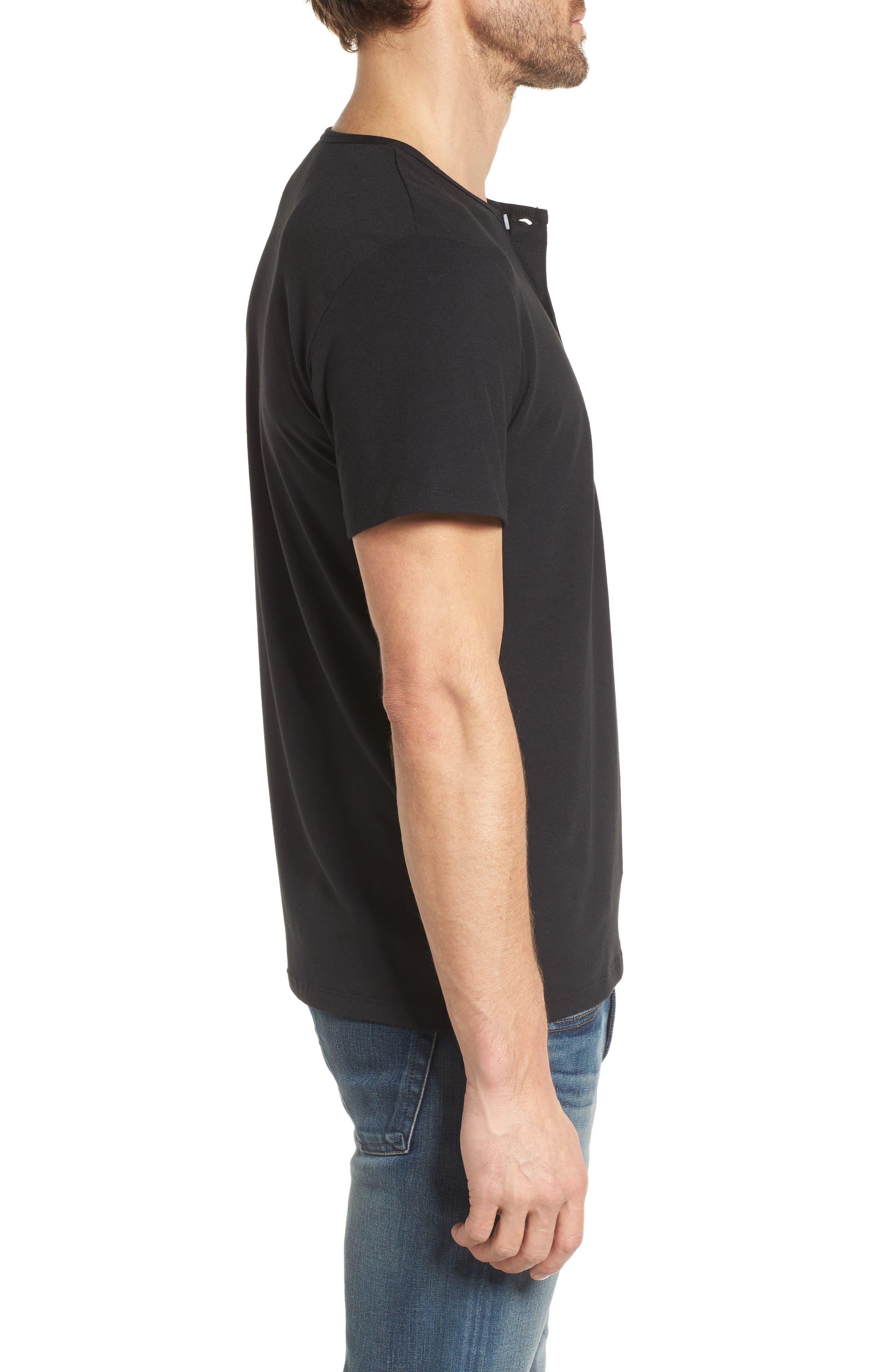 Slim Fit Short Sleeve Performance Henley T-Shirt,                             Alternate thumbnail 3, color,                             TOHONO BLACK
