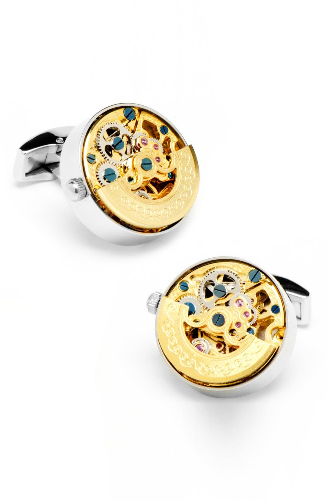 Watch Movement Cuff Links,                             Main thumbnail 1, color,                             SILVER/ GOLD