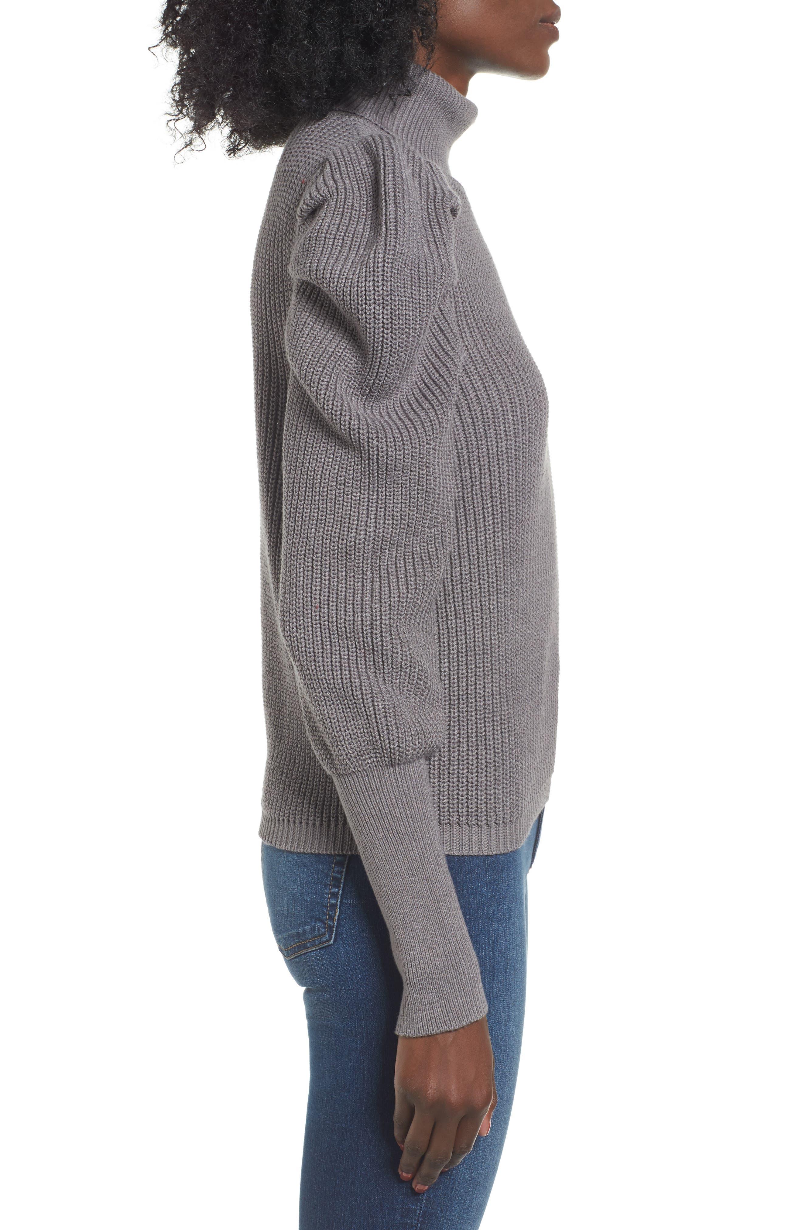 Puff Sleeve Turtleneck Sweater,                             Alternate thumbnail 3, color,                             030