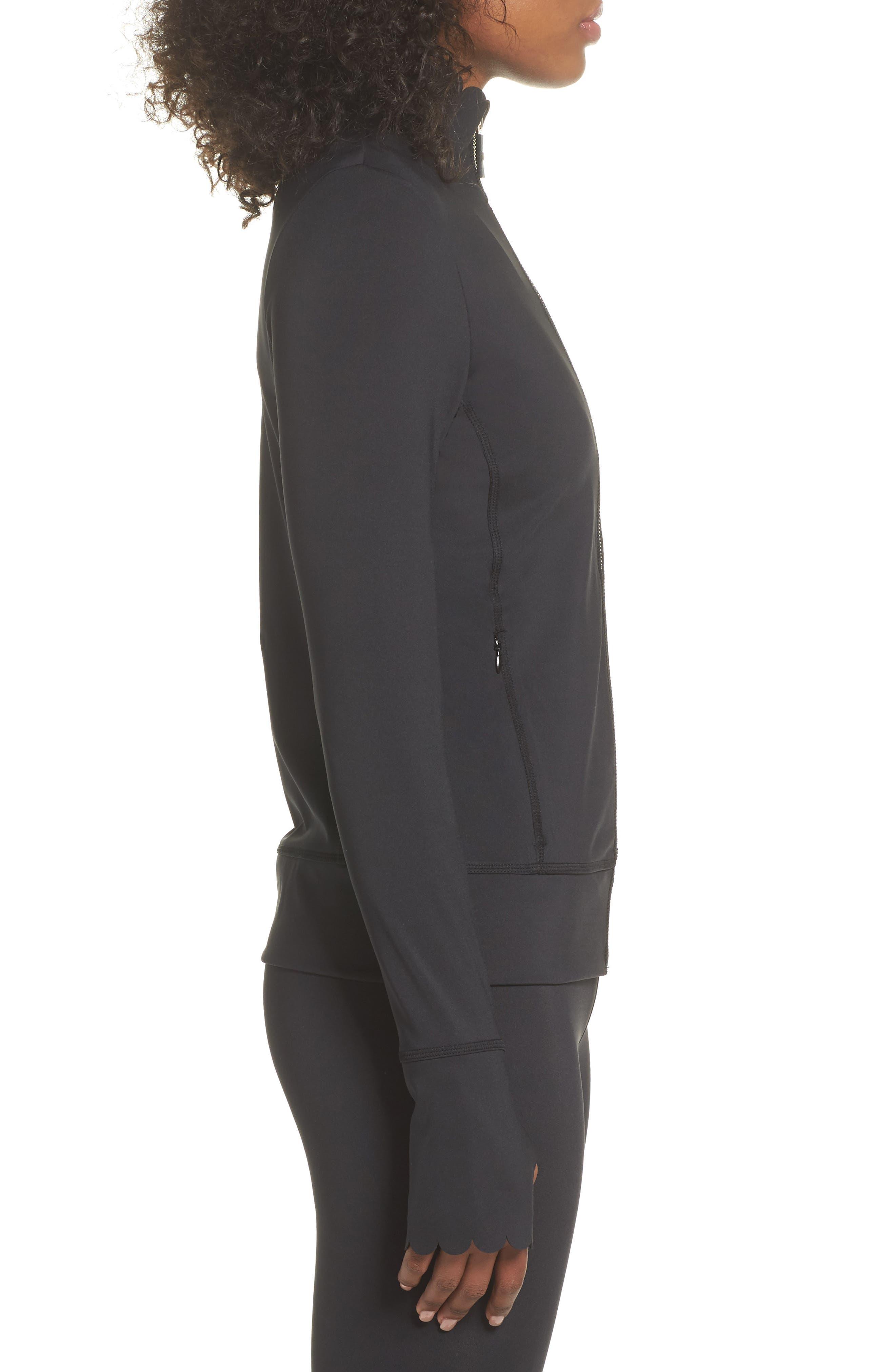scallop jacket,                             Alternate thumbnail 3, color,                             BLACK