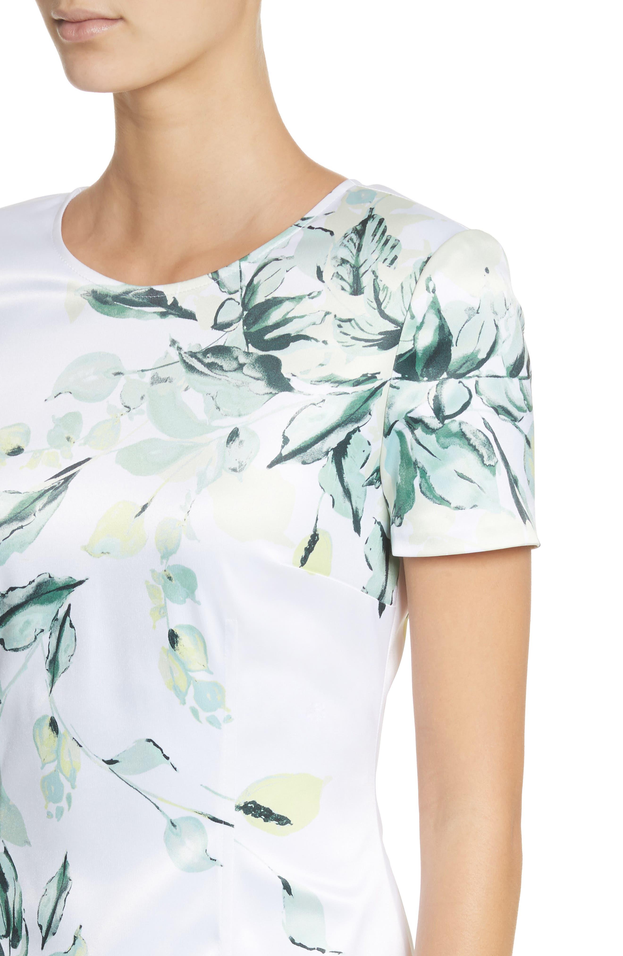 Leaf Print Sheath Dress,                             Alternate thumbnail 4, color,