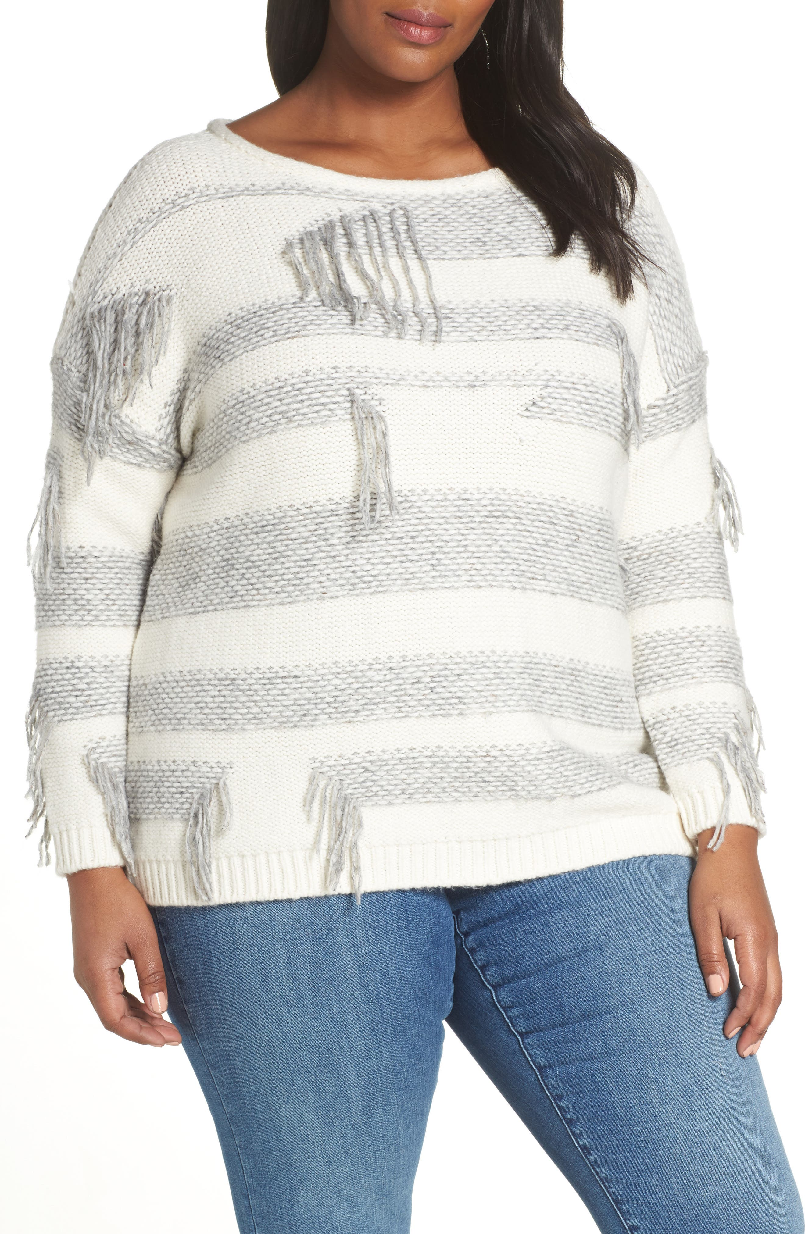 Fringe Detail Stripe Cotton Blend Sweater,                         Main,                         color, LIGHT HEATHER GREY