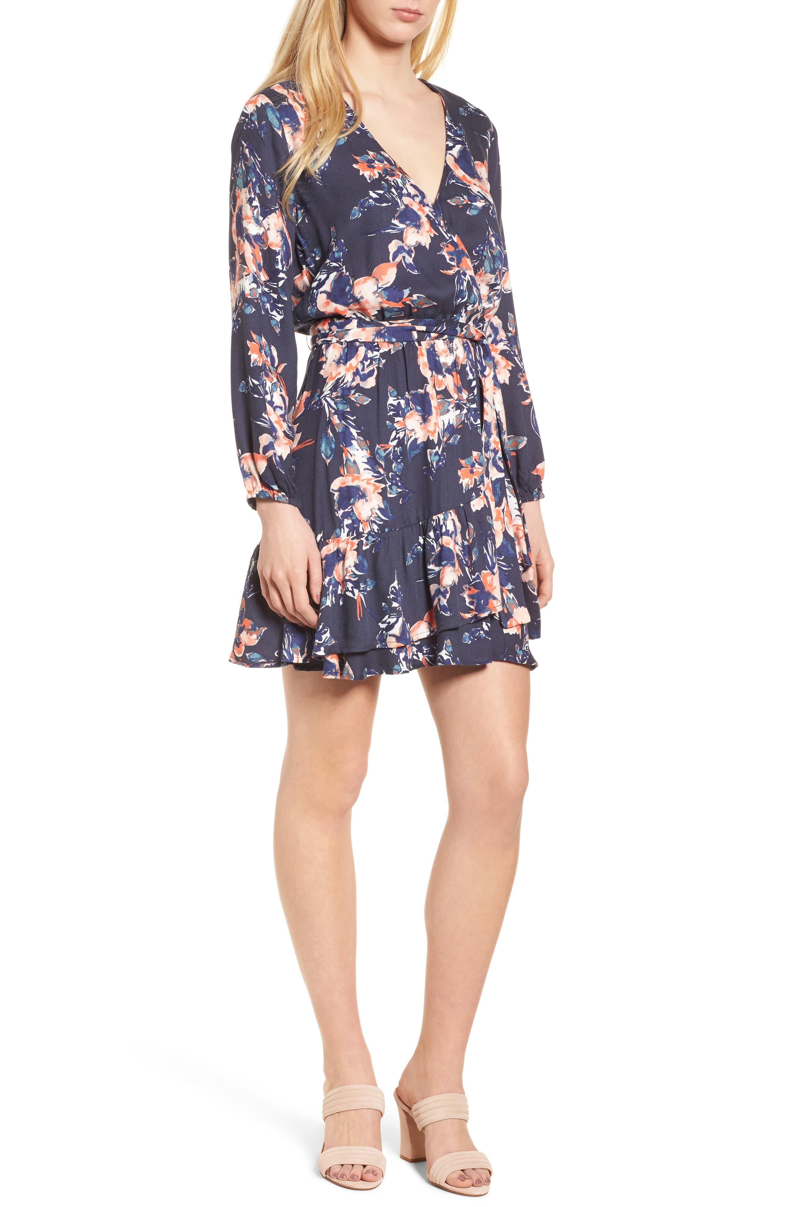 Painted Floral Wrap Dress,                         Main,                         color, 411