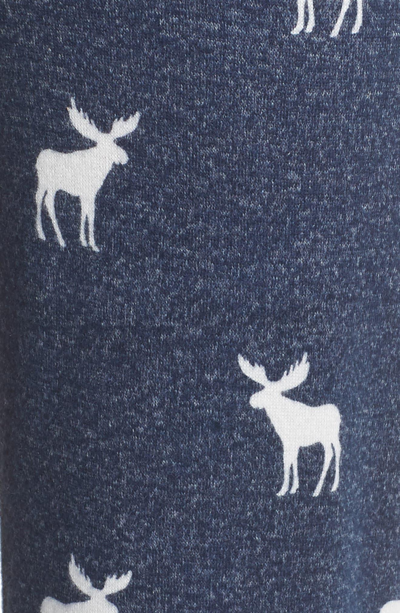 Moose Print Banded Pajama Pants,                             Alternate thumbnail 5, color,                             410