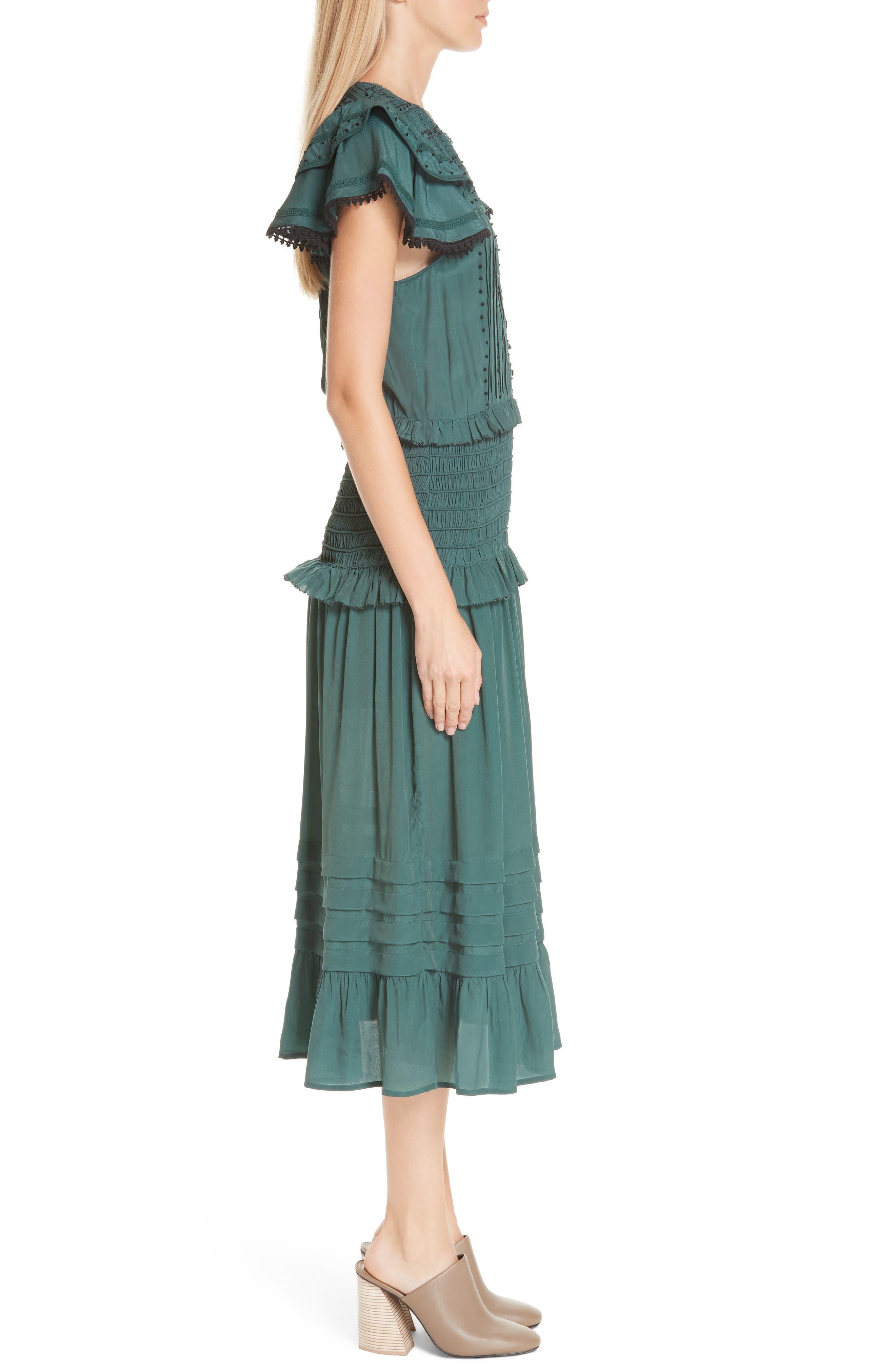 Azzedine Flutter Sleeve Smocked Midi Dress,                             Alternate thumbnail 3, color,                             FOREST
