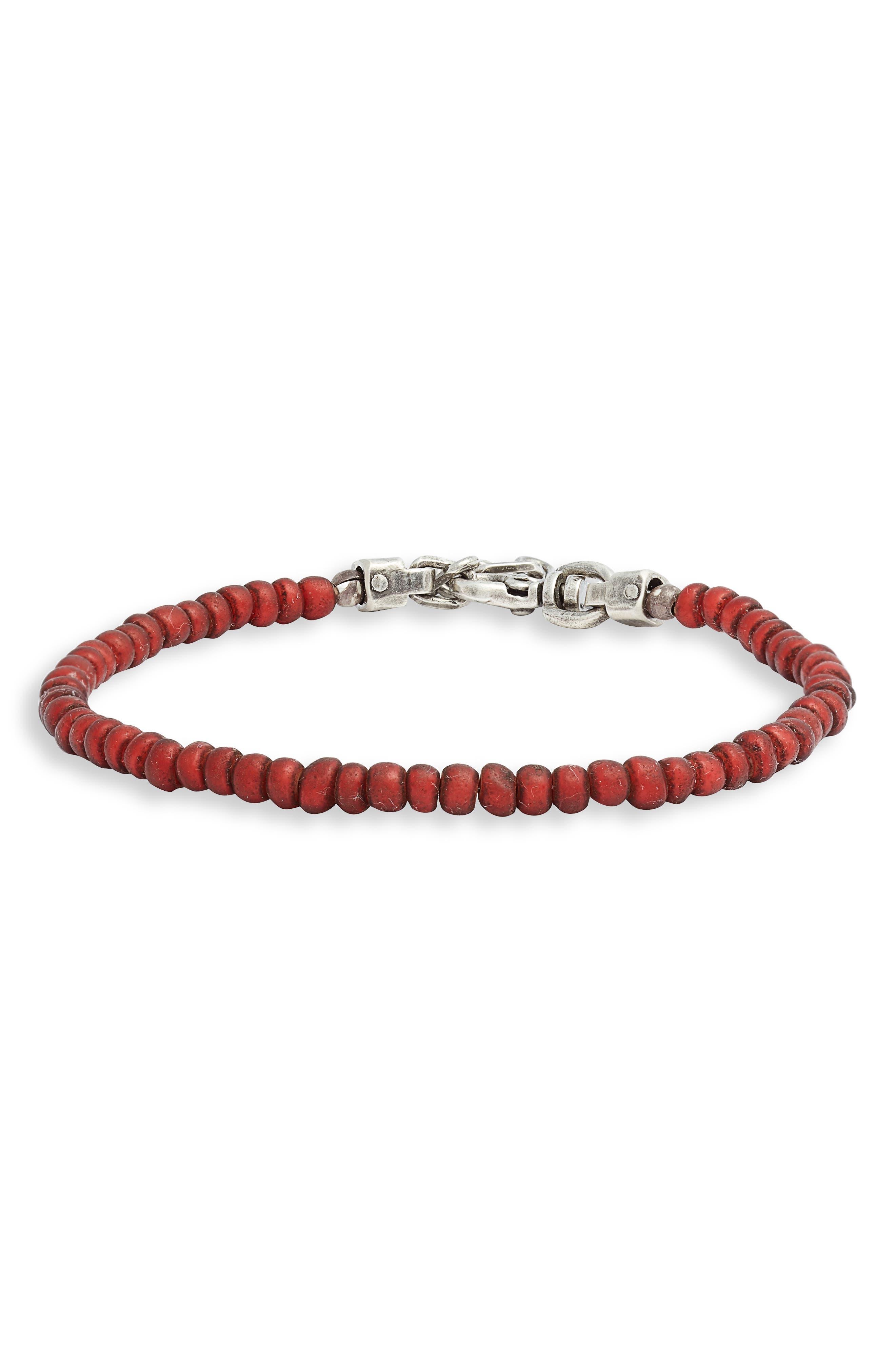 TITLE OF WORK,                             Venetian Glass Bead Bracelet,                             Main thumbnail 1, color,                             RED