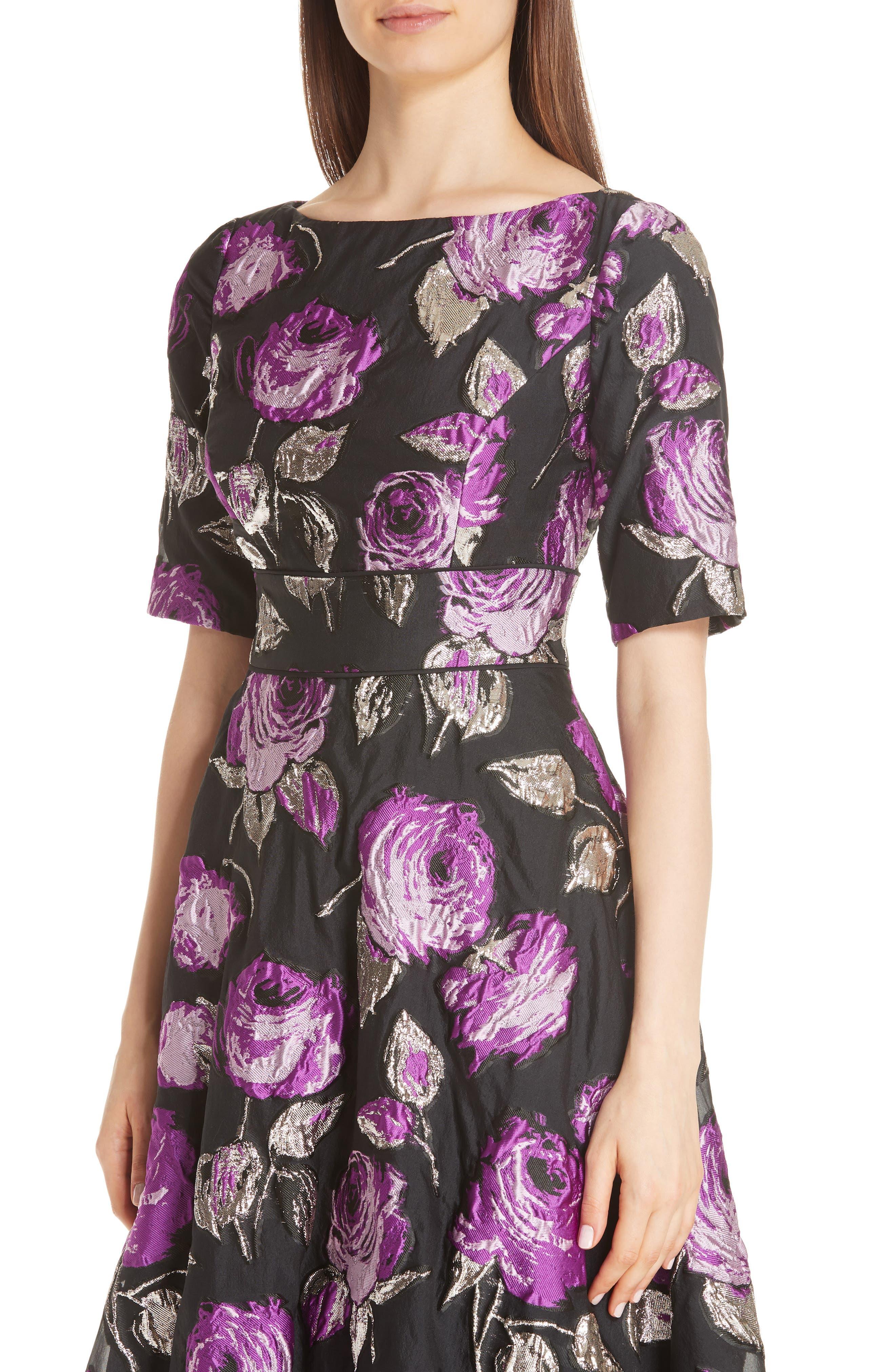 Metallic Floral Fil Coupé Fit & Flare Dress,                             Alternate thumbnail 4, color,                             LAVENDER/ BLACK