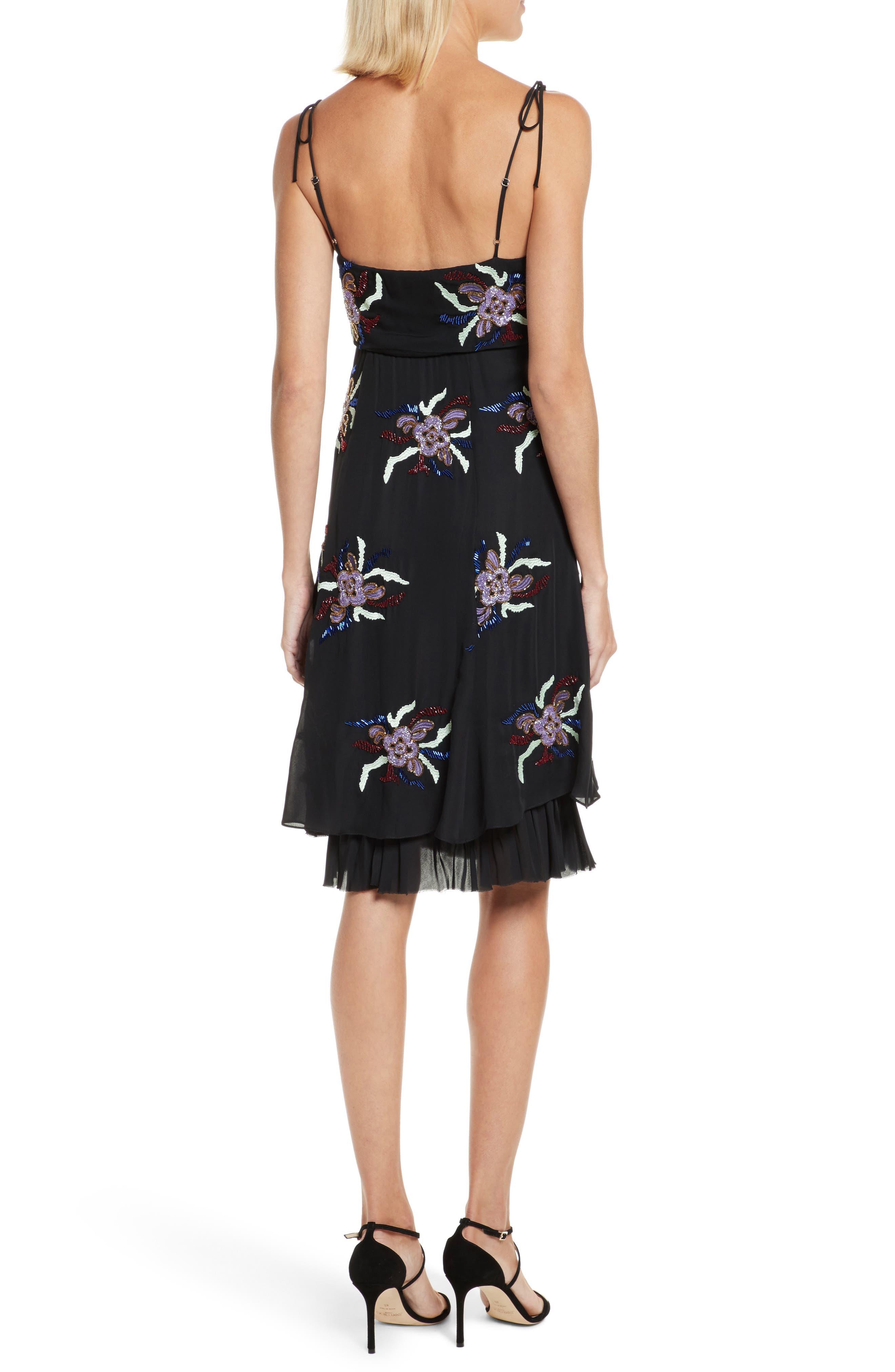 Porsca Embellished Silk Dress,                             Alternate thumbnail 2, color,                             008