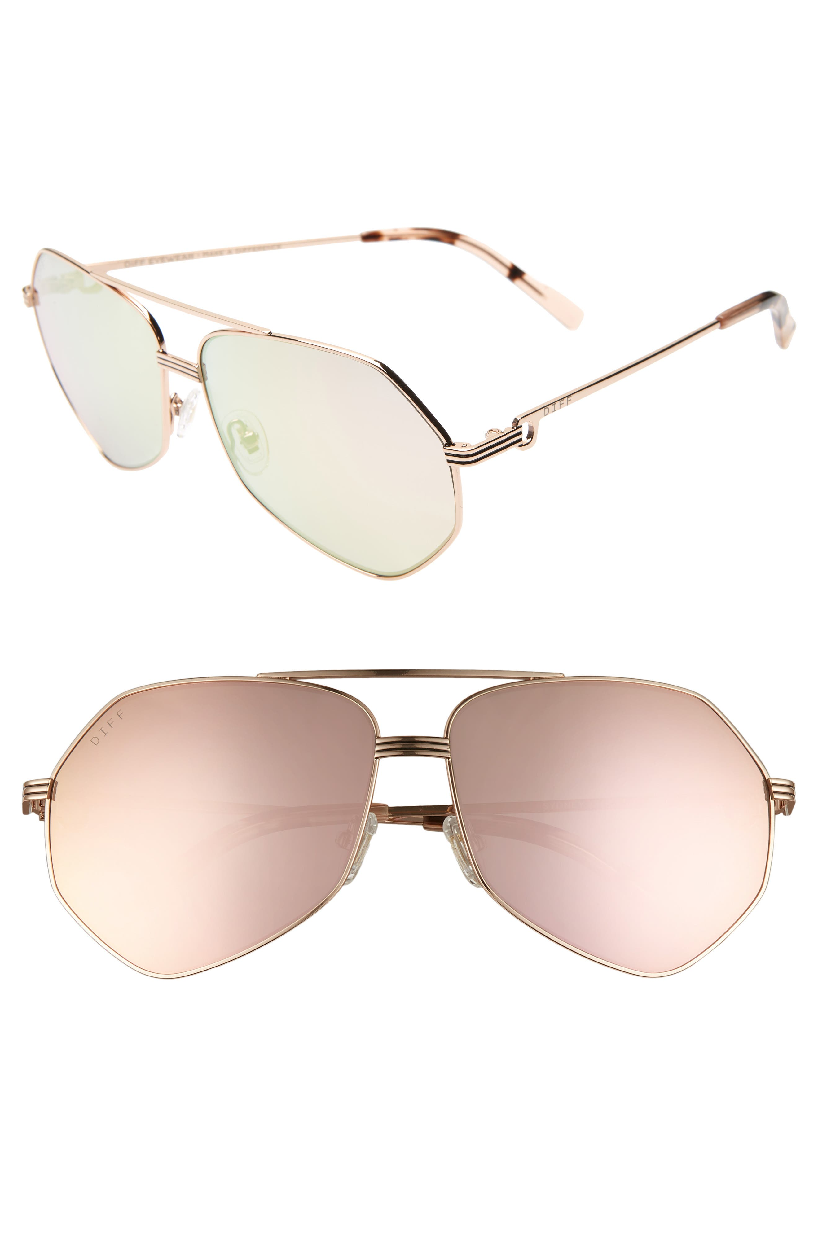 Sydney 62mm Polarized Aviator Sunglasses,                         Main,                         color, GOLD/ HIMALAYAN/ CHAMPAGNE