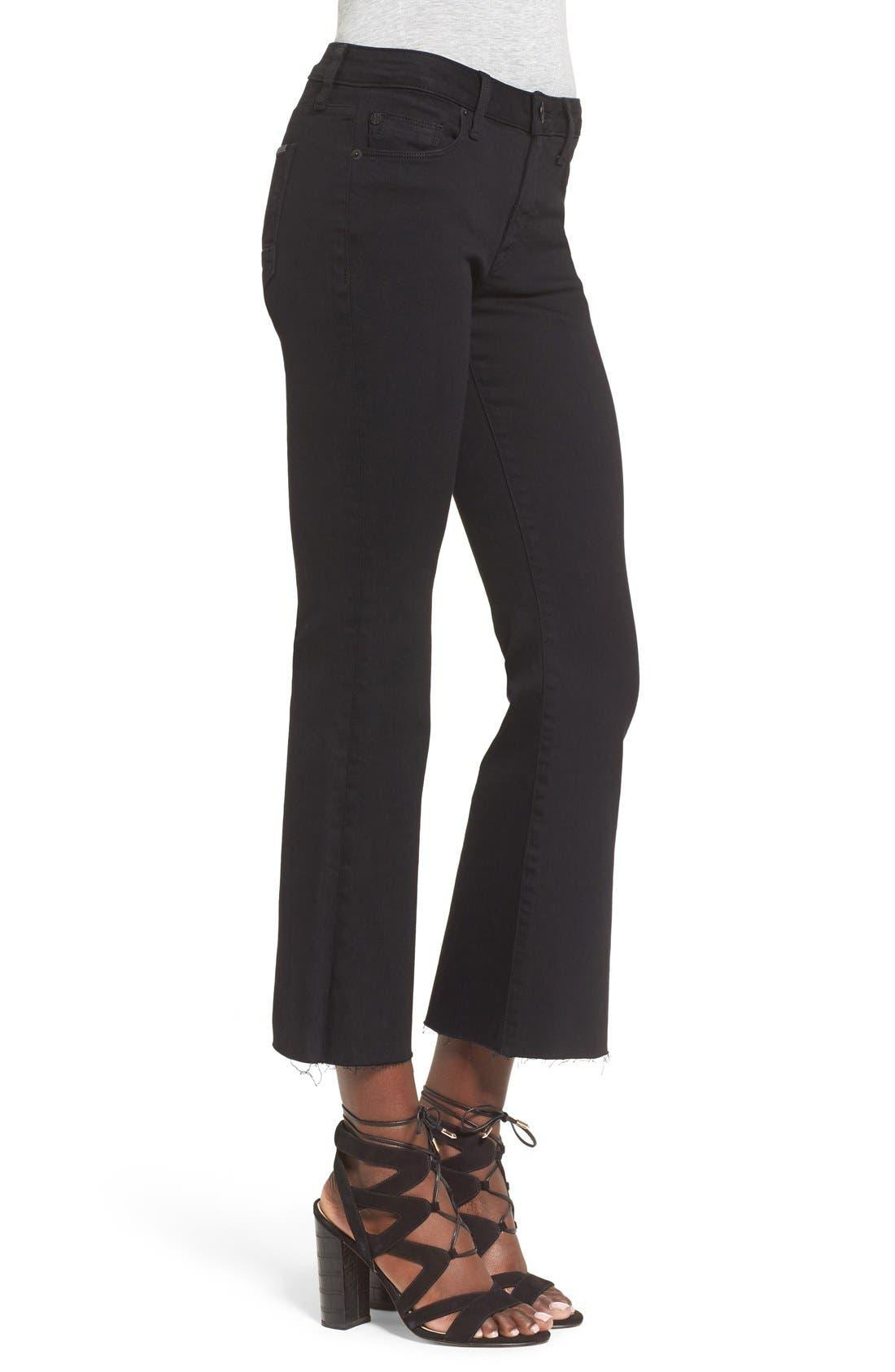 'Mia' Raw Hem Crop Flare Jeans,                             Alternate thumbnail 4, color,                             001