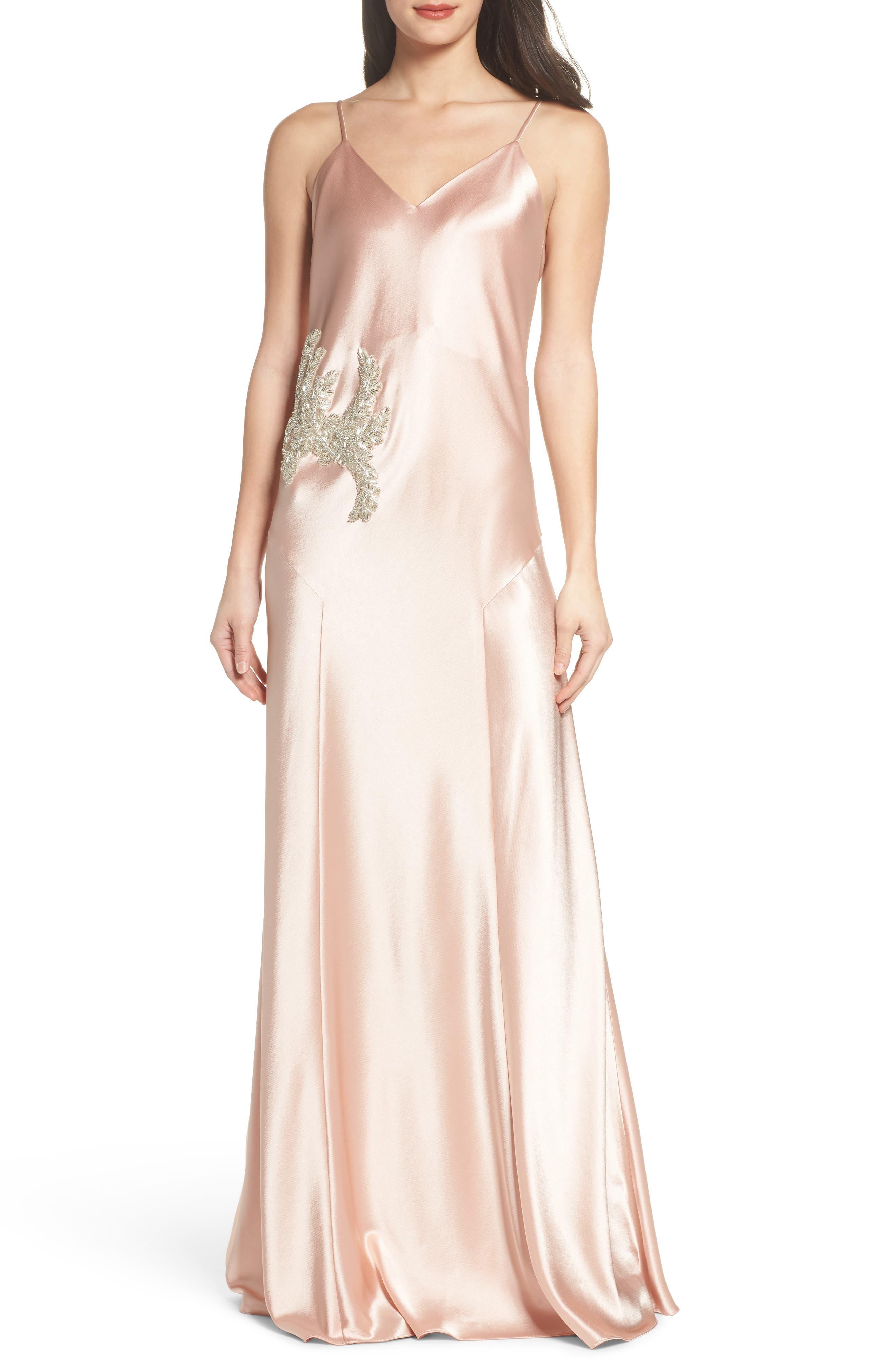 Carmen Embellished Satin Slip Gown,                             Main thumbnail 1, color,                             691