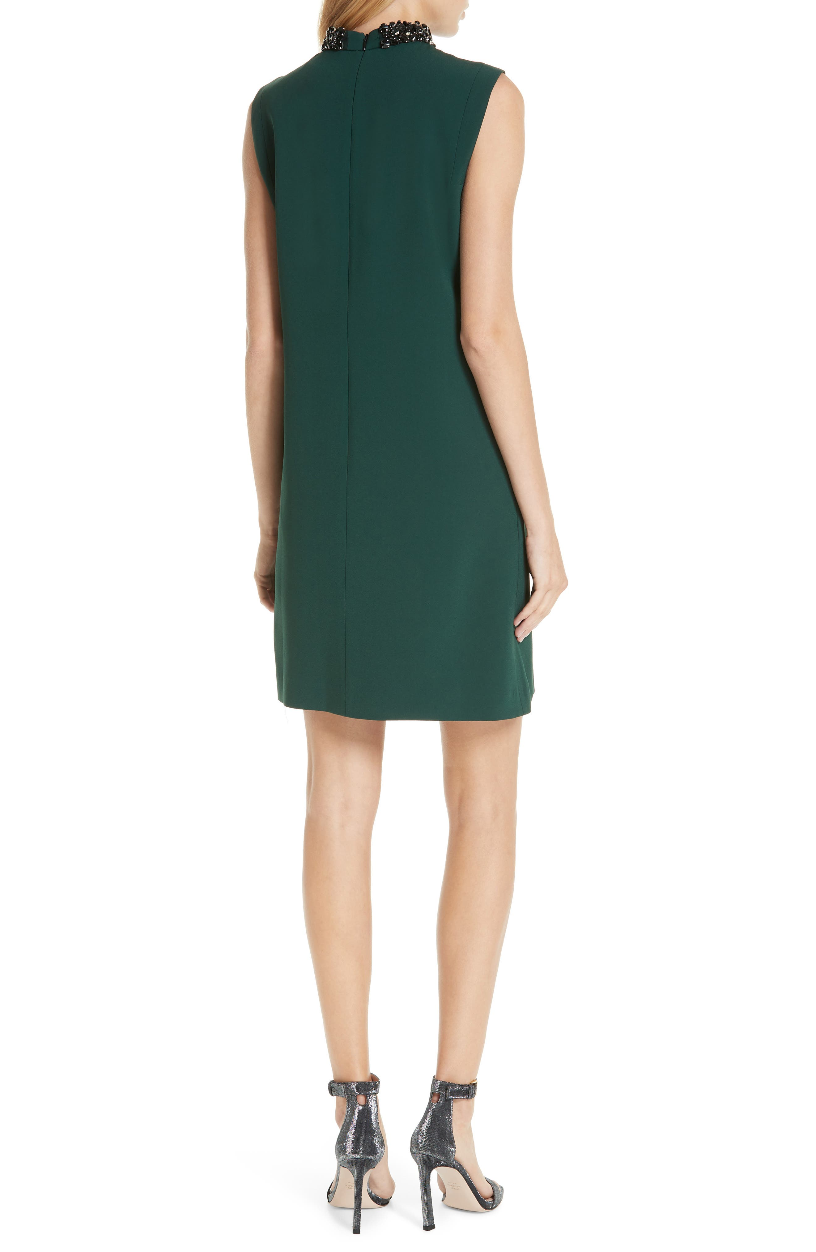 Verona Jewel Neck Dress,                             Alternate thumbnail 2, color,                             DK. GREEN