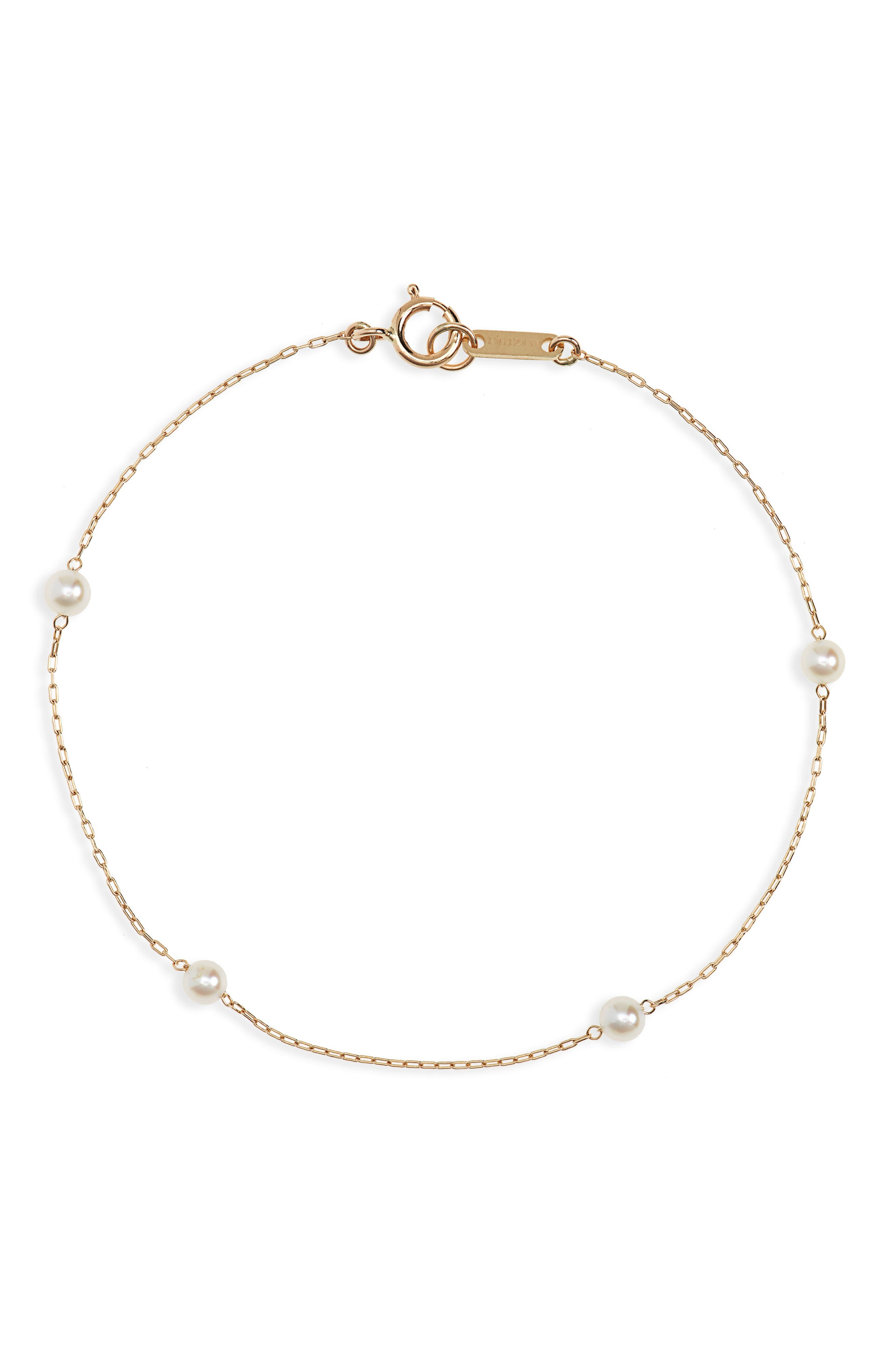 Genuine Pearl Station Bracelet,                             Main thumbnail 1, color,                             YELLOW GOLD/ PEARL