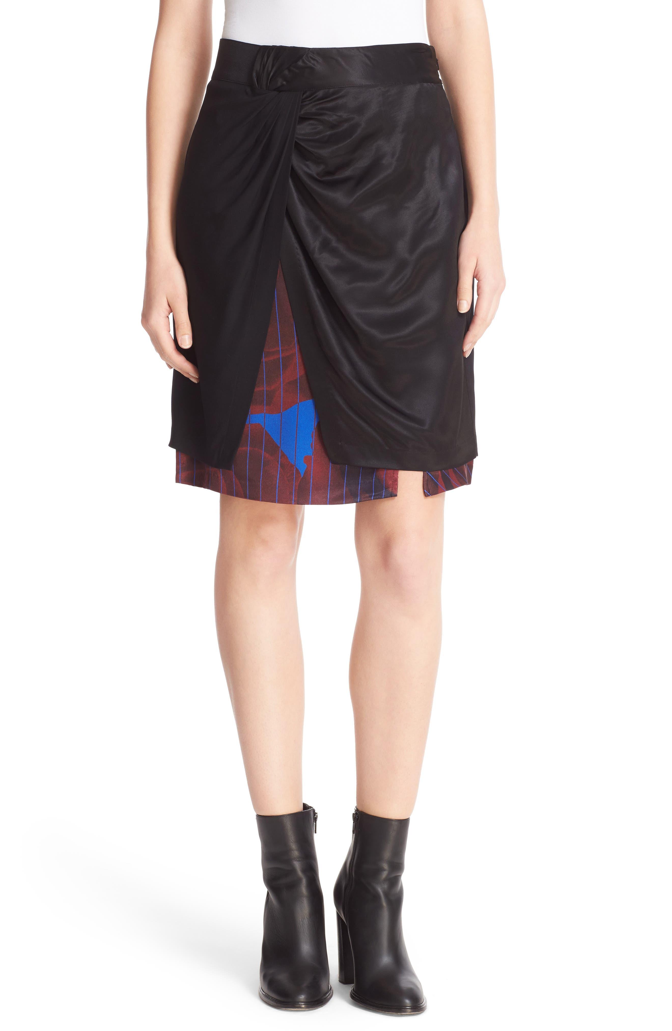 Asymmetrical Mixed Media Skirt,                             Main thumbnail 1, color,                             001