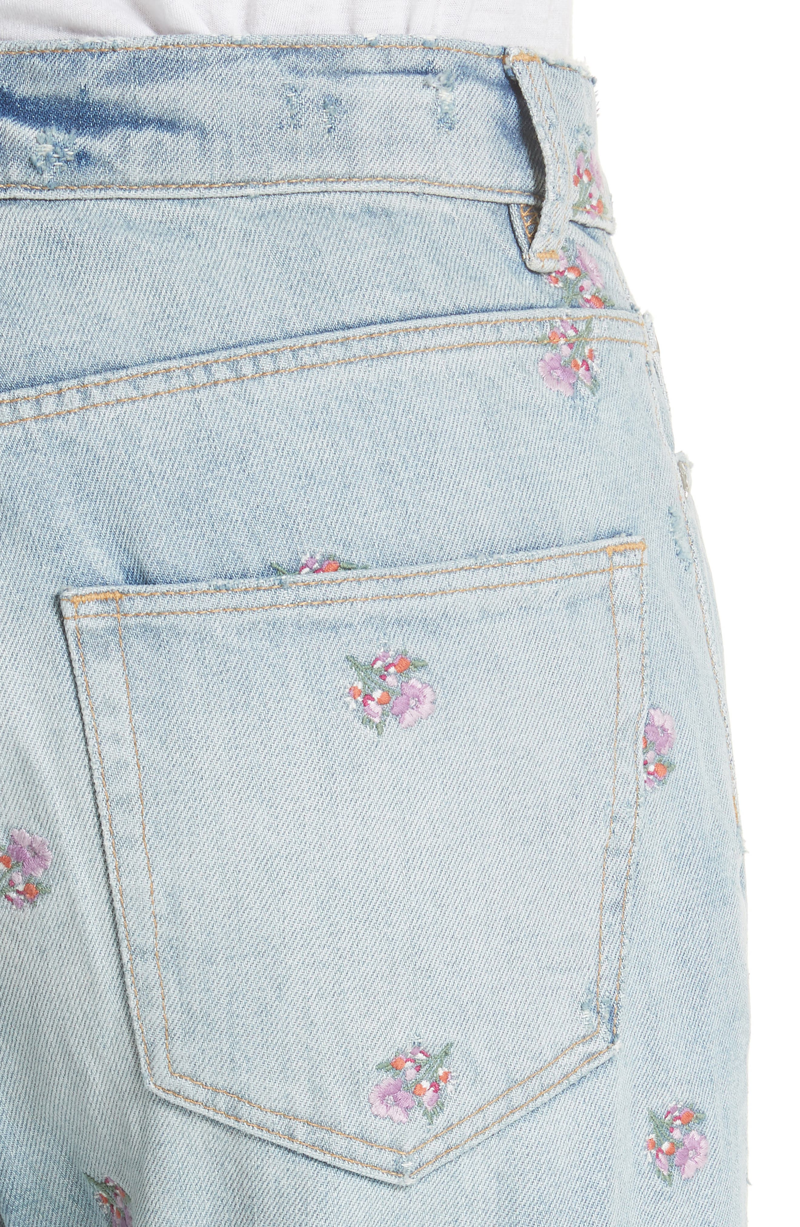Beatrice Embroidered Crop Straight Leg Jeans,                             Alternate thumbnail 4, color,                             459