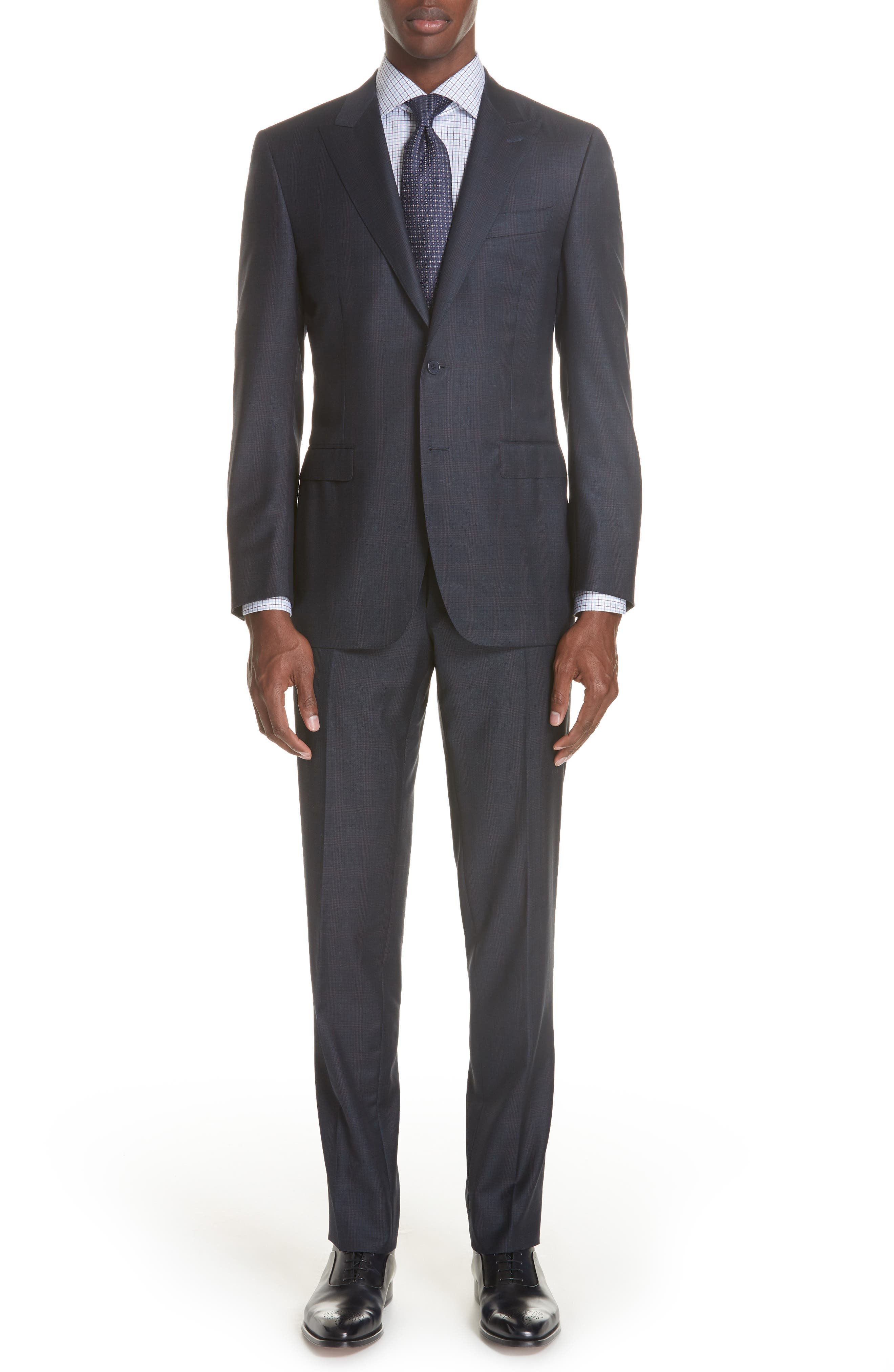 Milano Classic Fit Plaid Wool Suit,                             Main thumbnail 1, color,                             NAVY