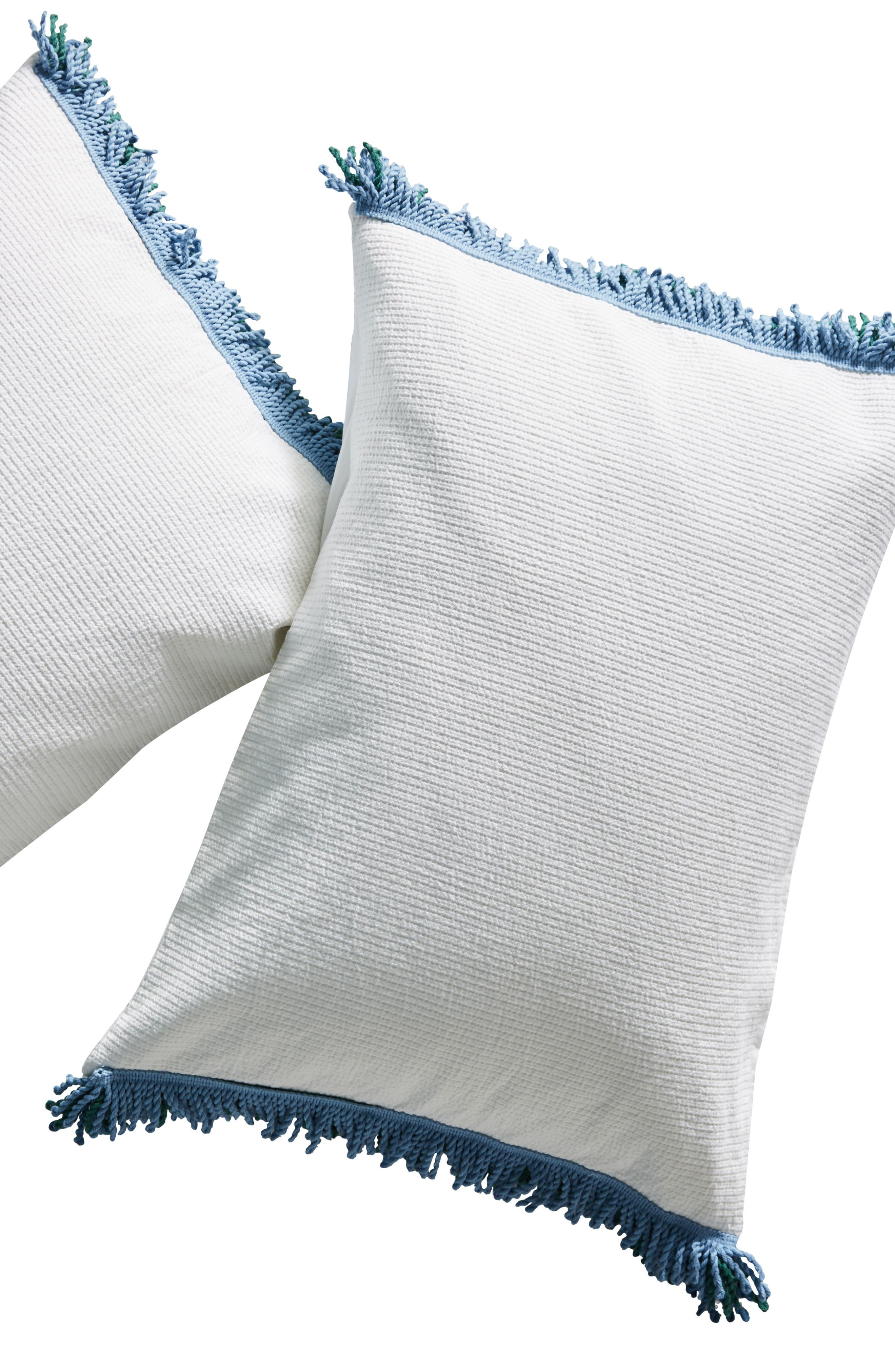 Layered Fringe Pillow Shams,                             Alternate thumbnail 2, color,                             WHITE
