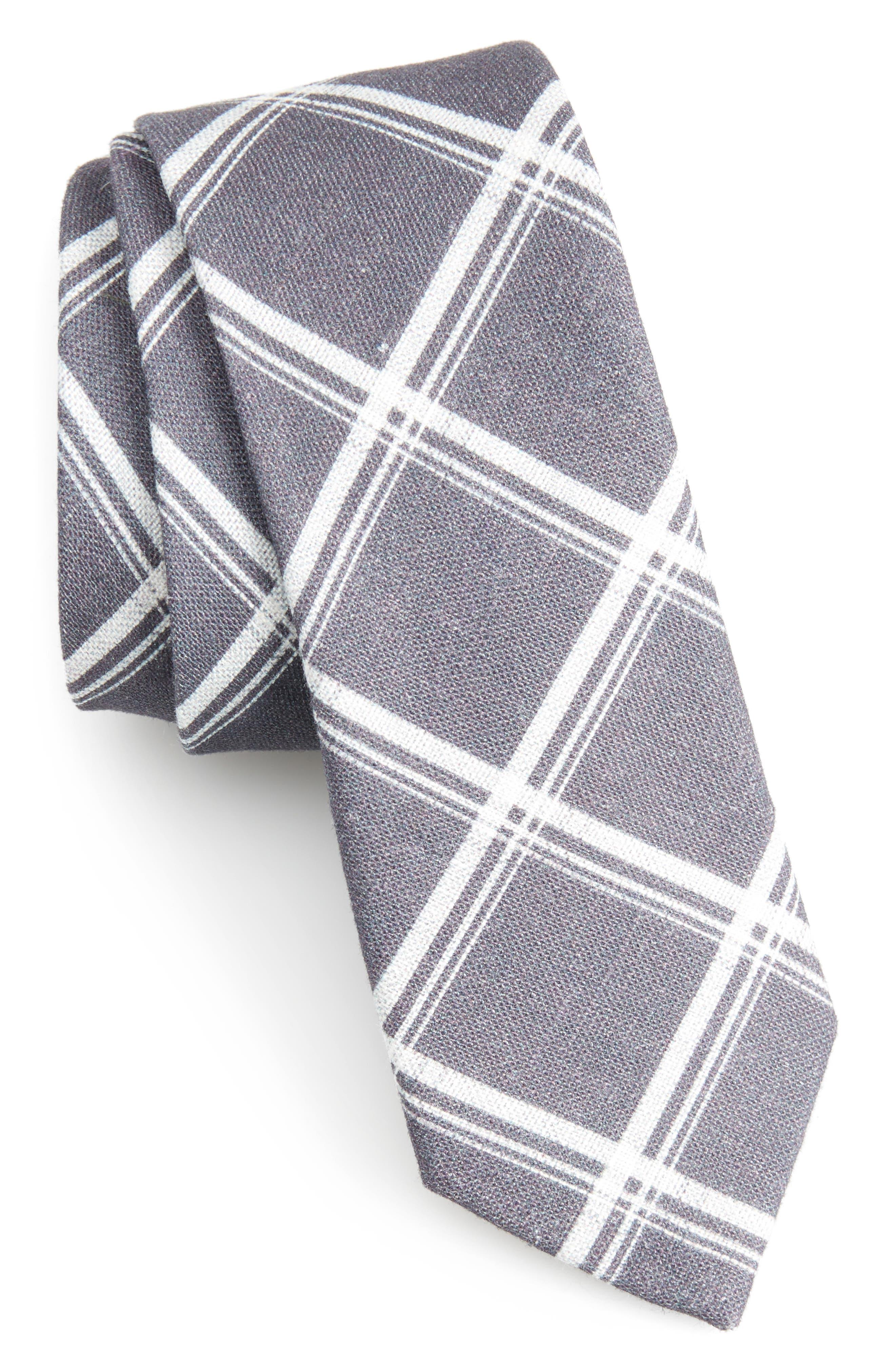 Jet Plaid Linen Skinny Tie,                             Main thumbnail 1, color,