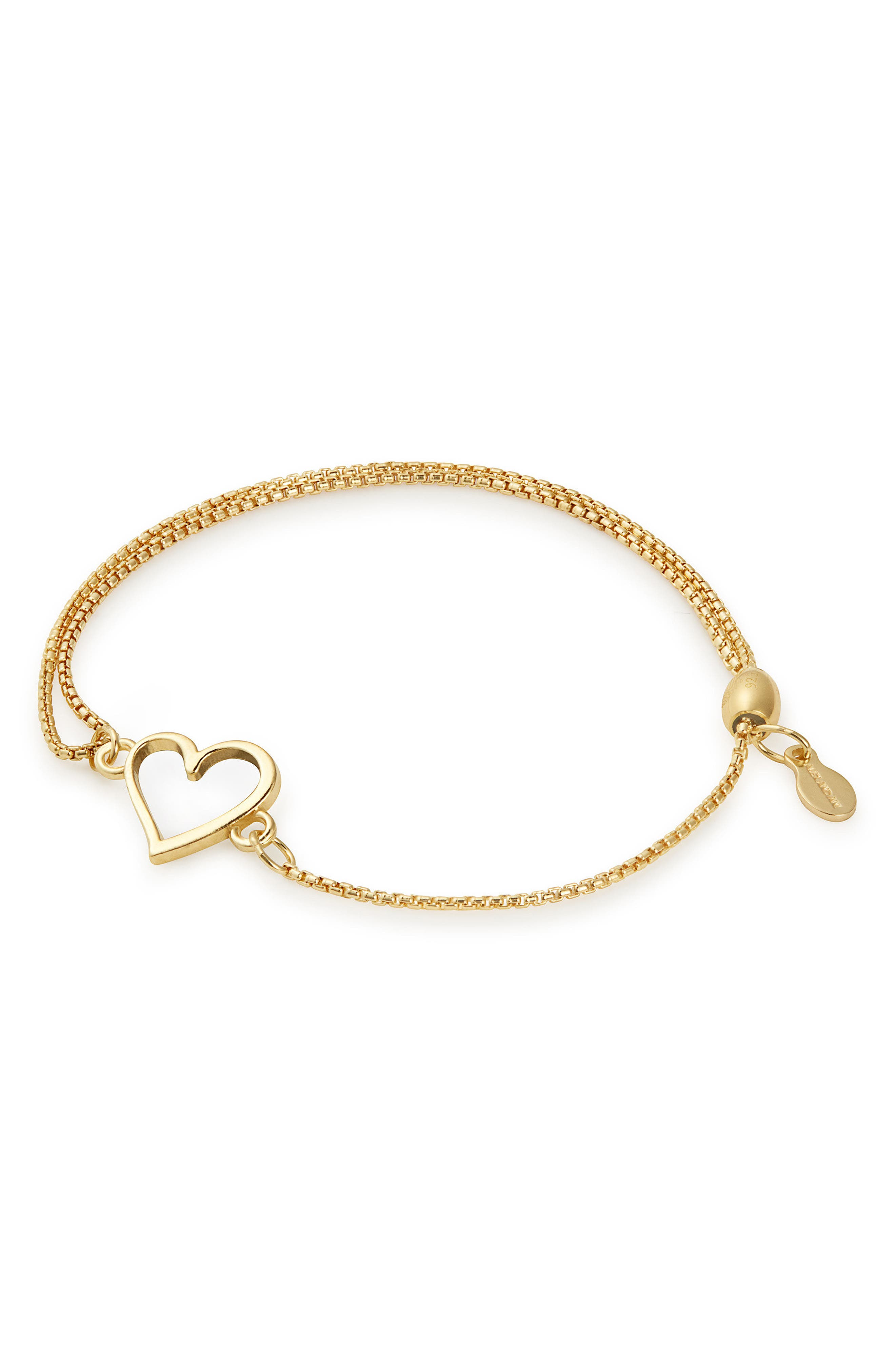 Heart Pull Chain Bracelet,                             Main thumbnail 1, color,                             GOLD