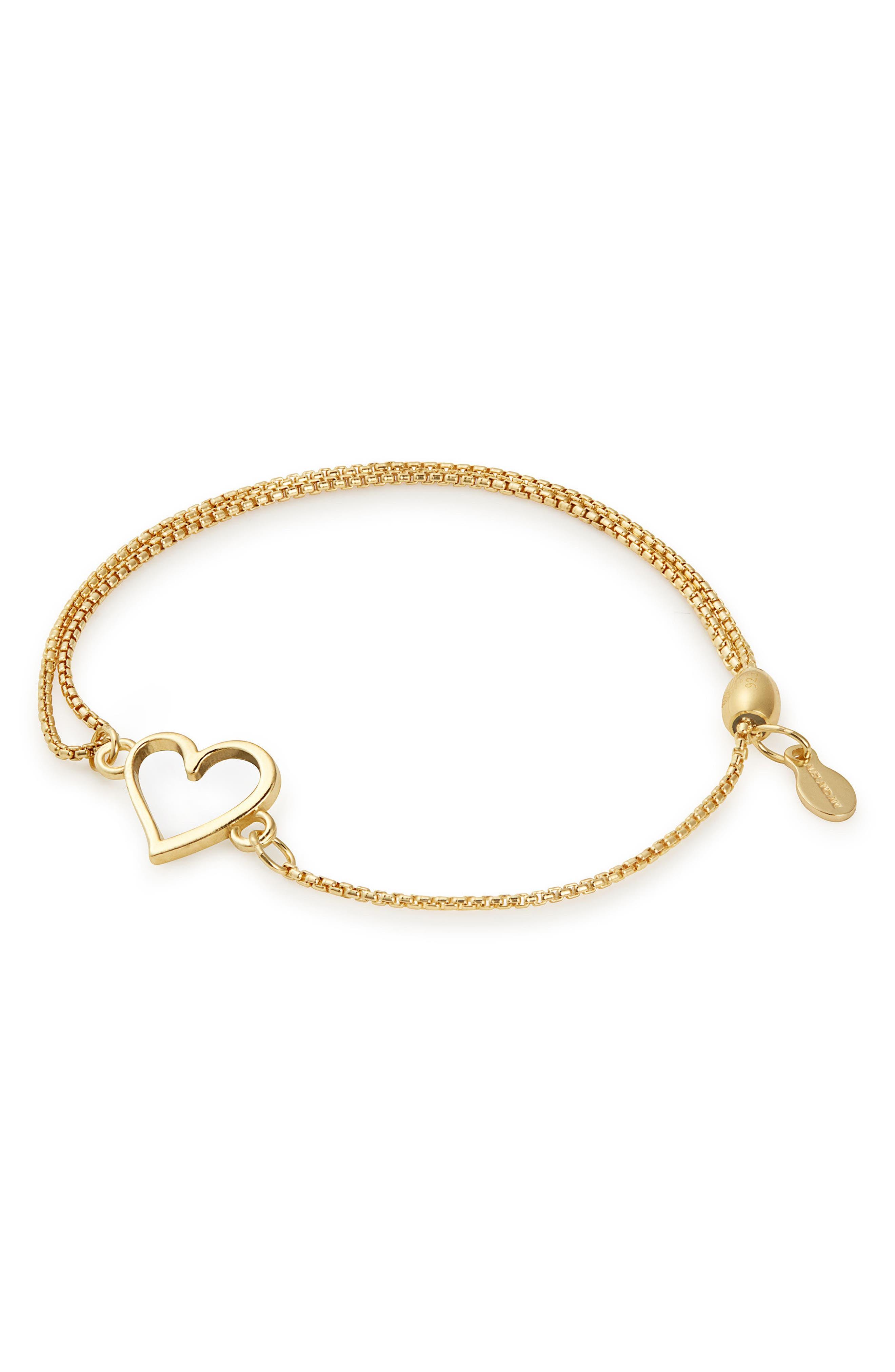 Heart Pull Chain Bracelet,                         Main,                         color, GOLD