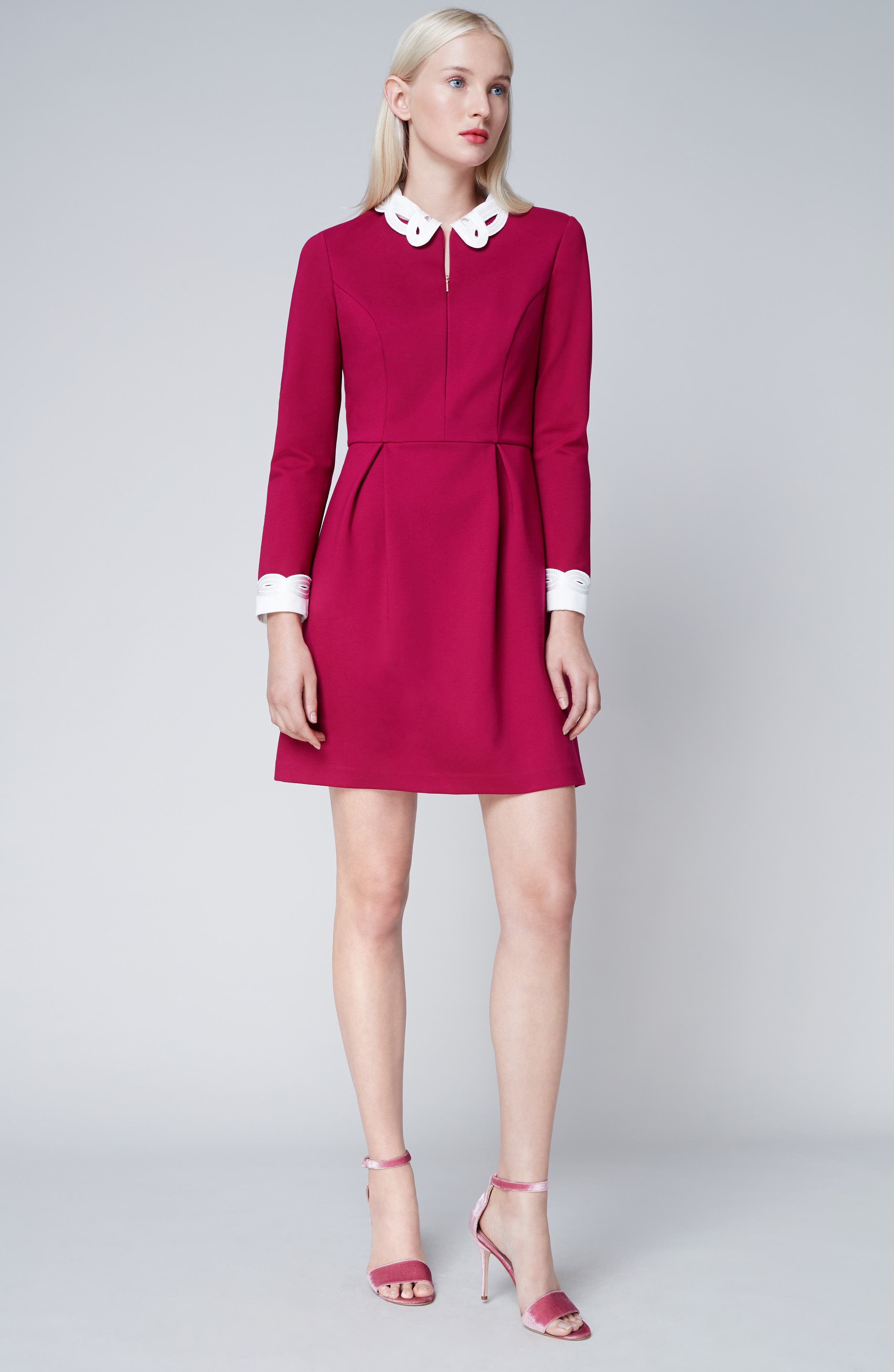 Shealah Embroidered Trim A-Line Dress,                             Alternate thumbnail 7, color,                             651