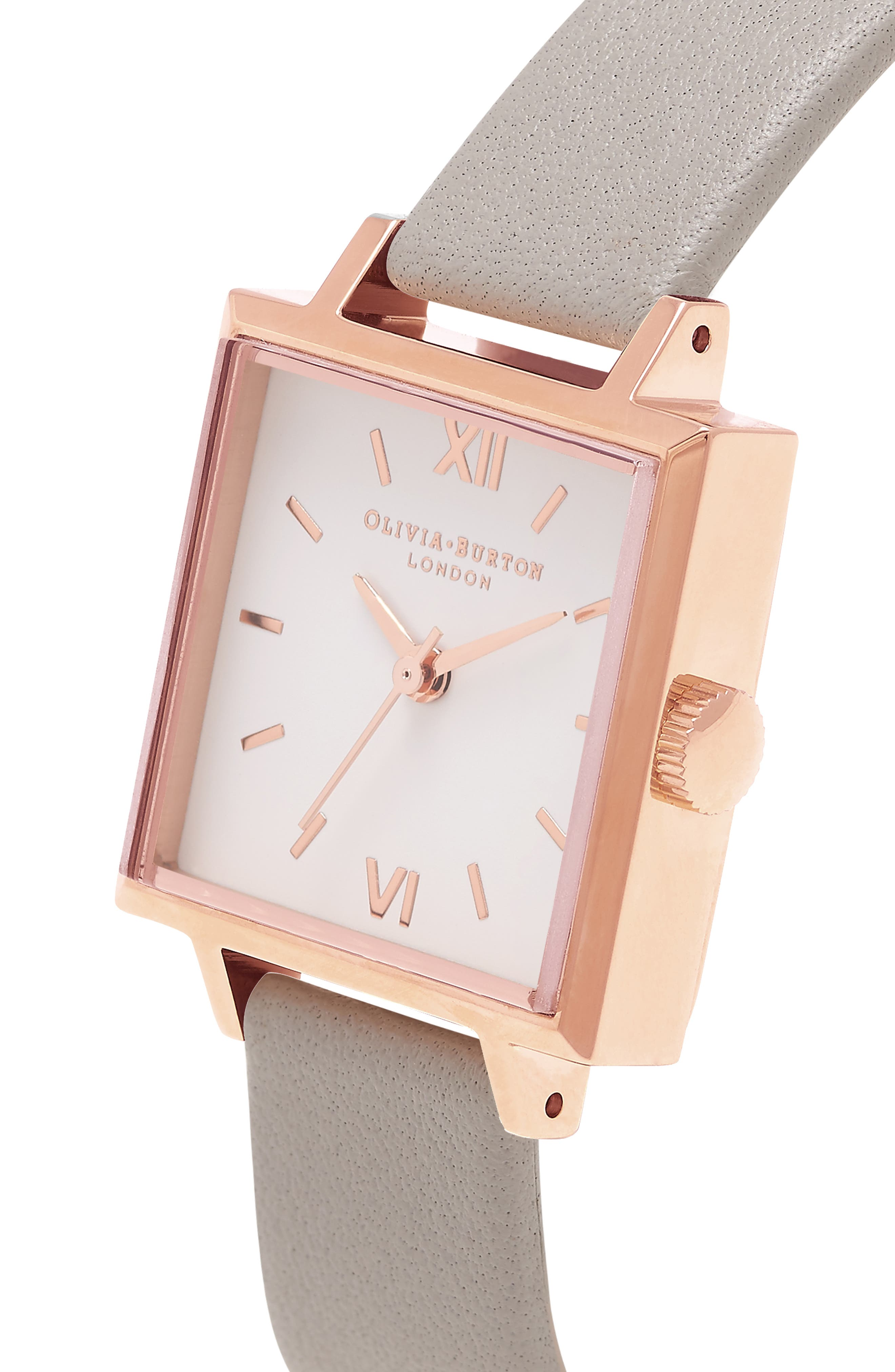 Square Leather Strap Watch, 23mm,                             Alternate thumbnail 8, color,