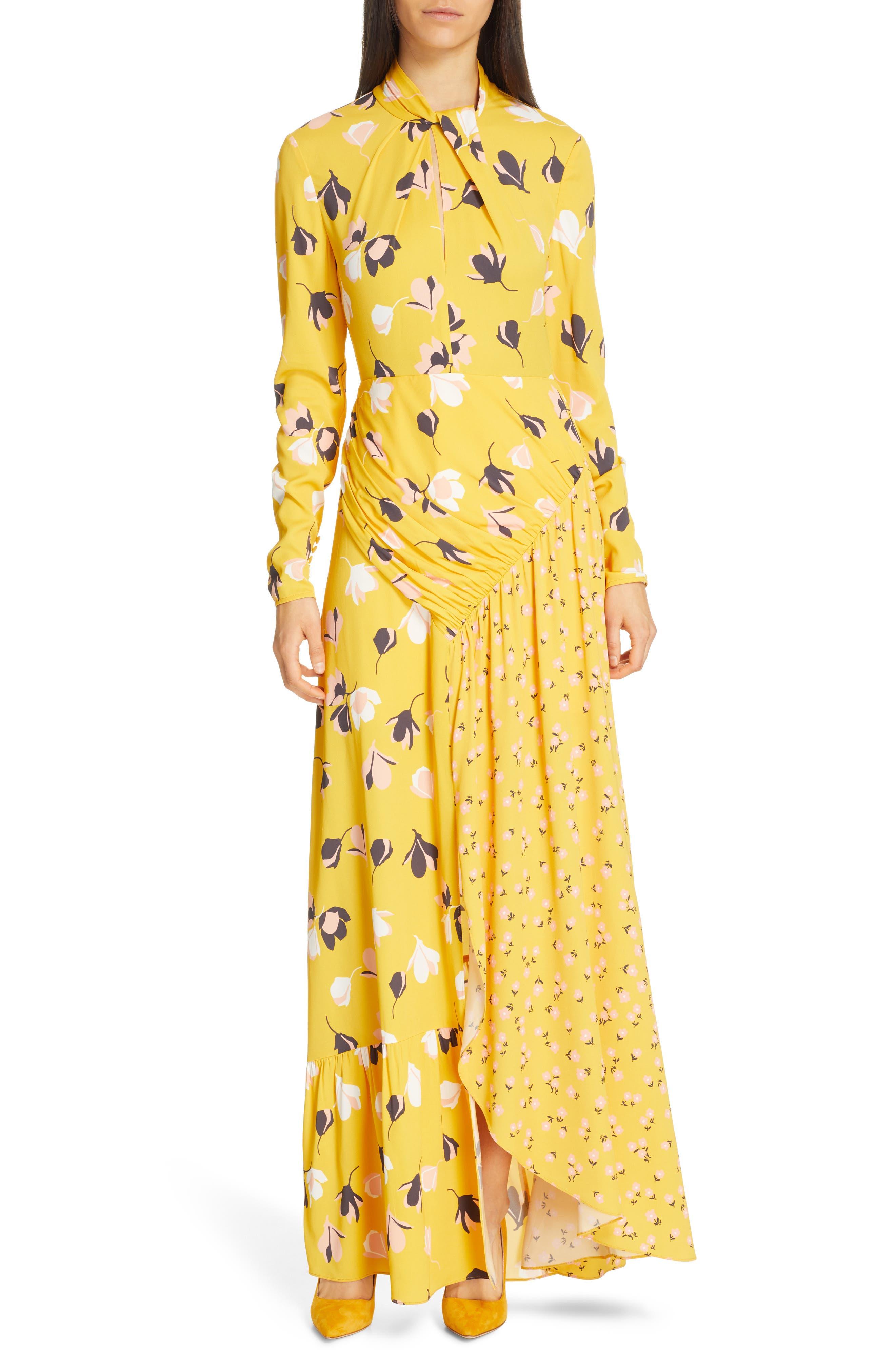 Self-Portrait Floral Print Twist Neck Long Sleeve Maxi Dress, Yellow
