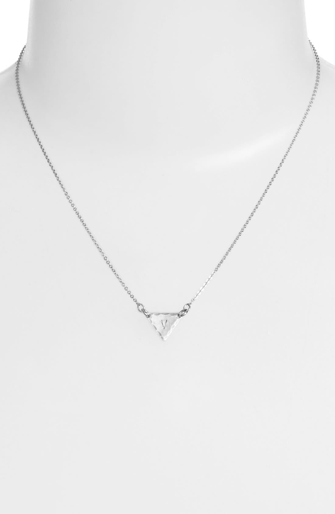Sterling Silver Initial Mini Triangle Necklace,                             Alternate thumbnail 48, color,