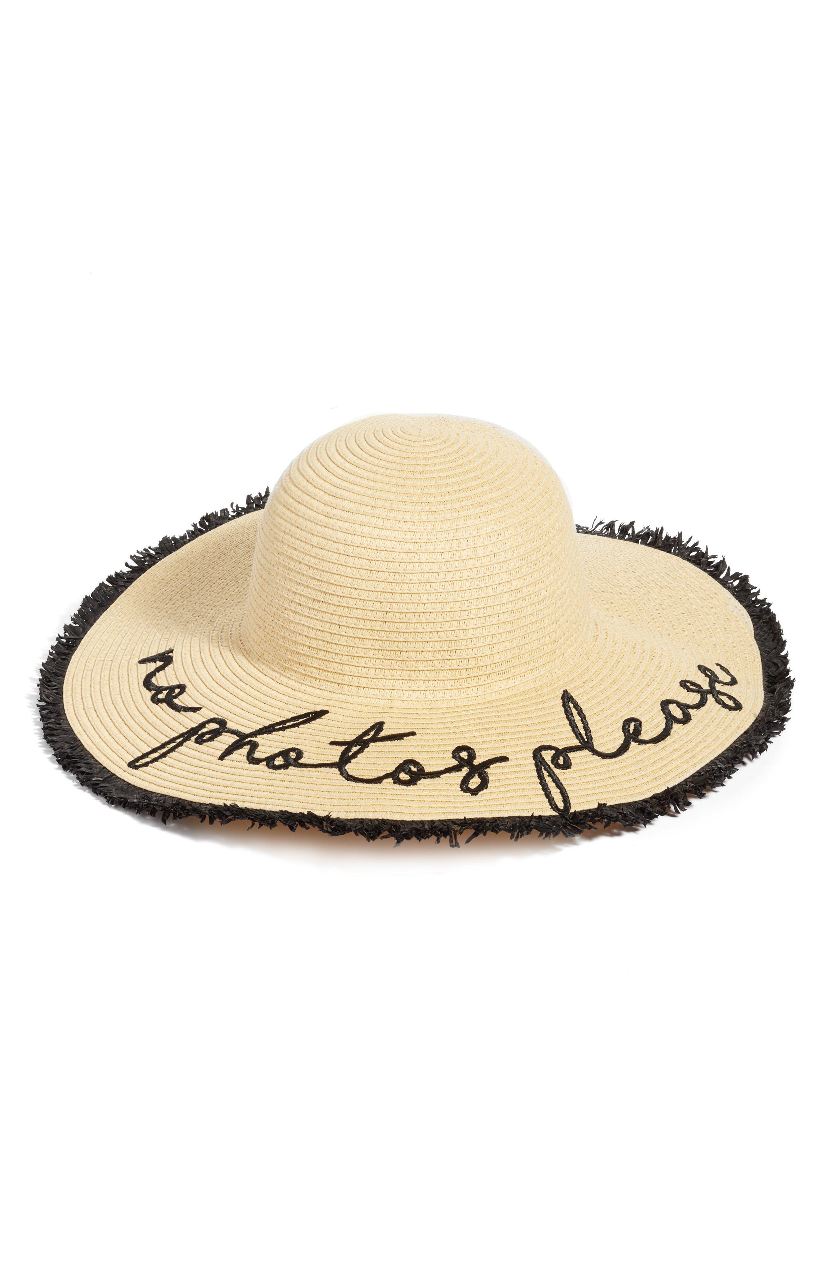 No Photos Please Floppy Straw Hat,                         Main,                         color,