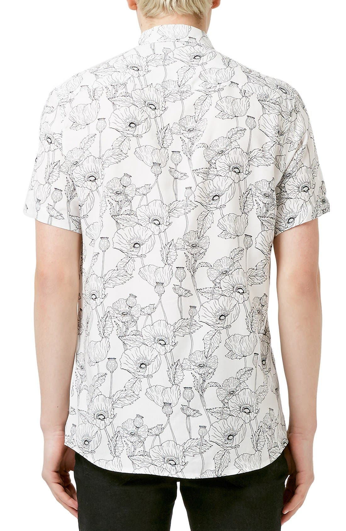 Slim Fit Short Sleeve Poppy Print Shirt,                             Alternate thumbnail 2, color,                             100