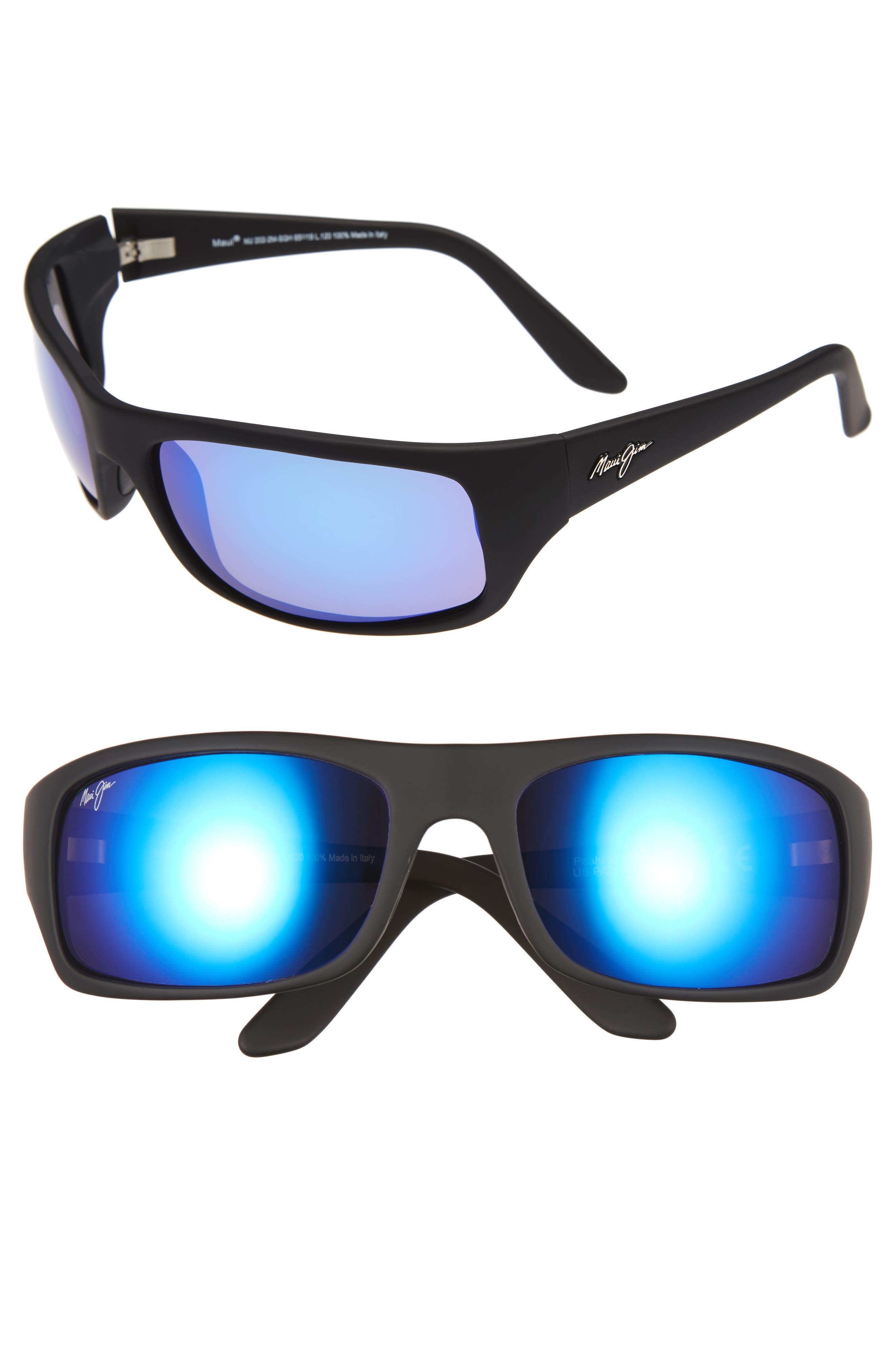 'Peahi - PolarizedPlus<sup>®</sup>2' 65mm Sunglasses, Main, color, MATTE BLACK/ BLUE HAWAII