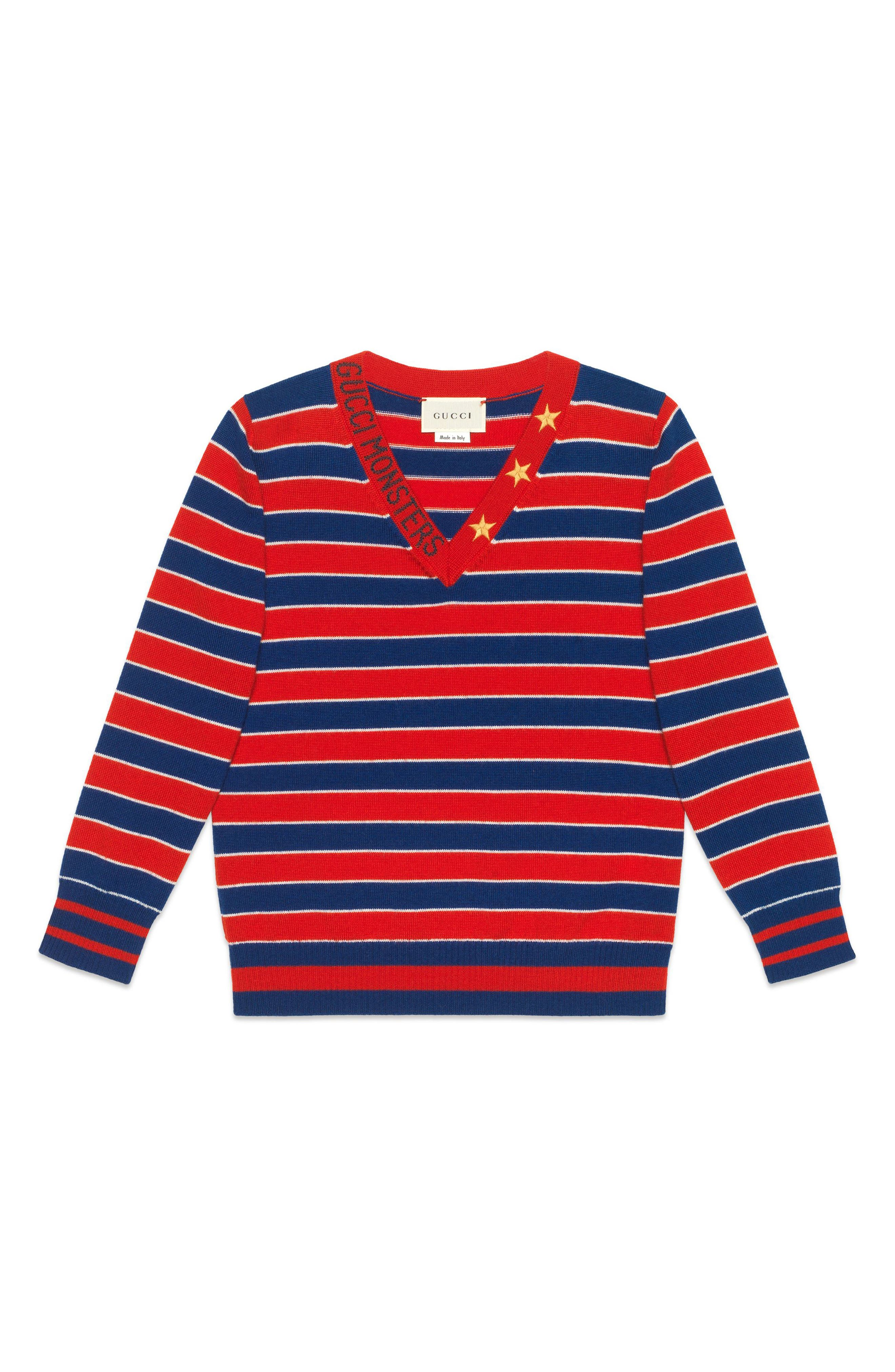 Fine Gauge Wool Sweater, Main, color, B.SAPPH/ L.RED/ MULTIC