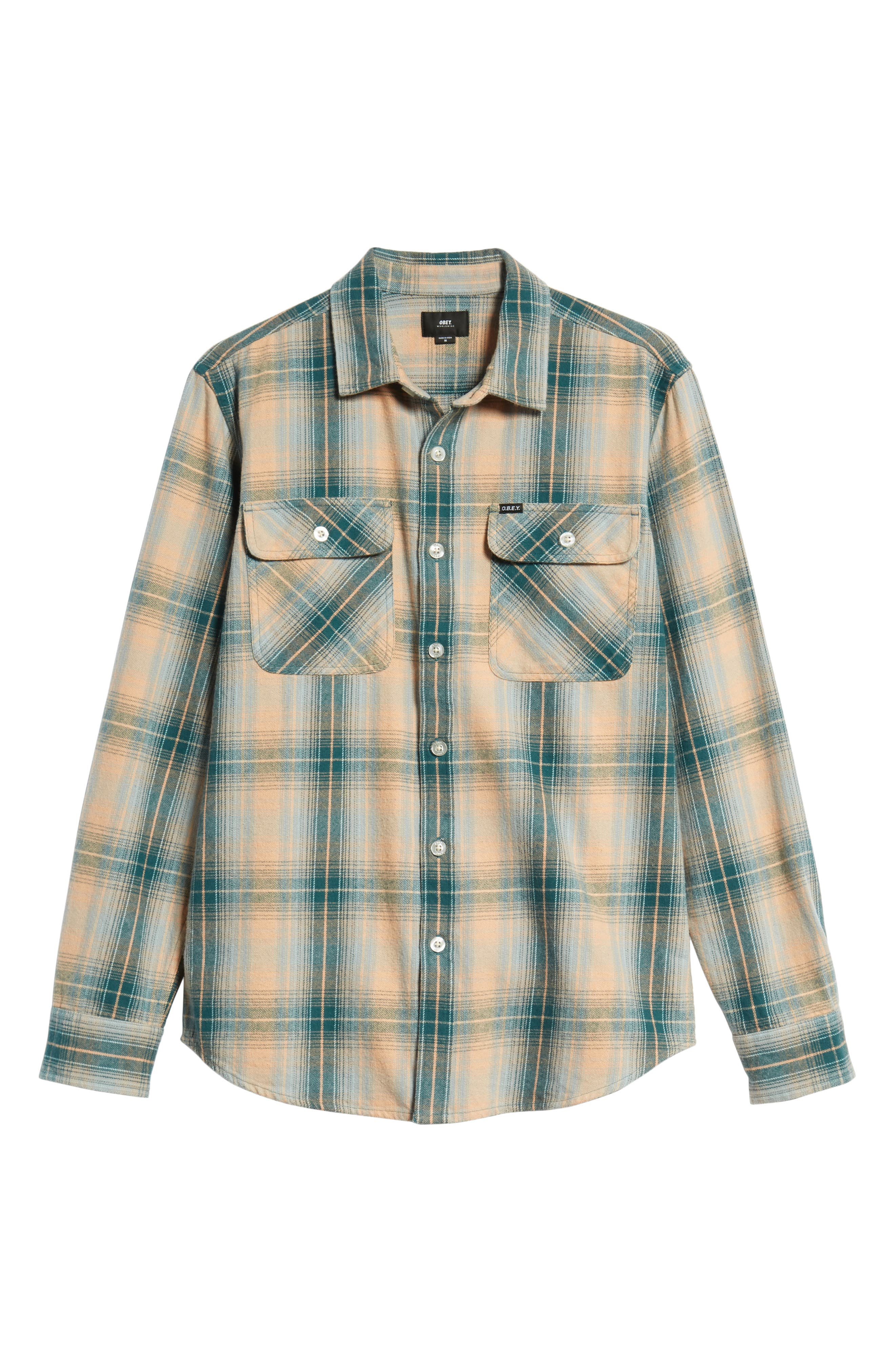 Continental Plaid Flannel Shirt,                             Alternate thumbnail 5, color,                             PINE MULTI