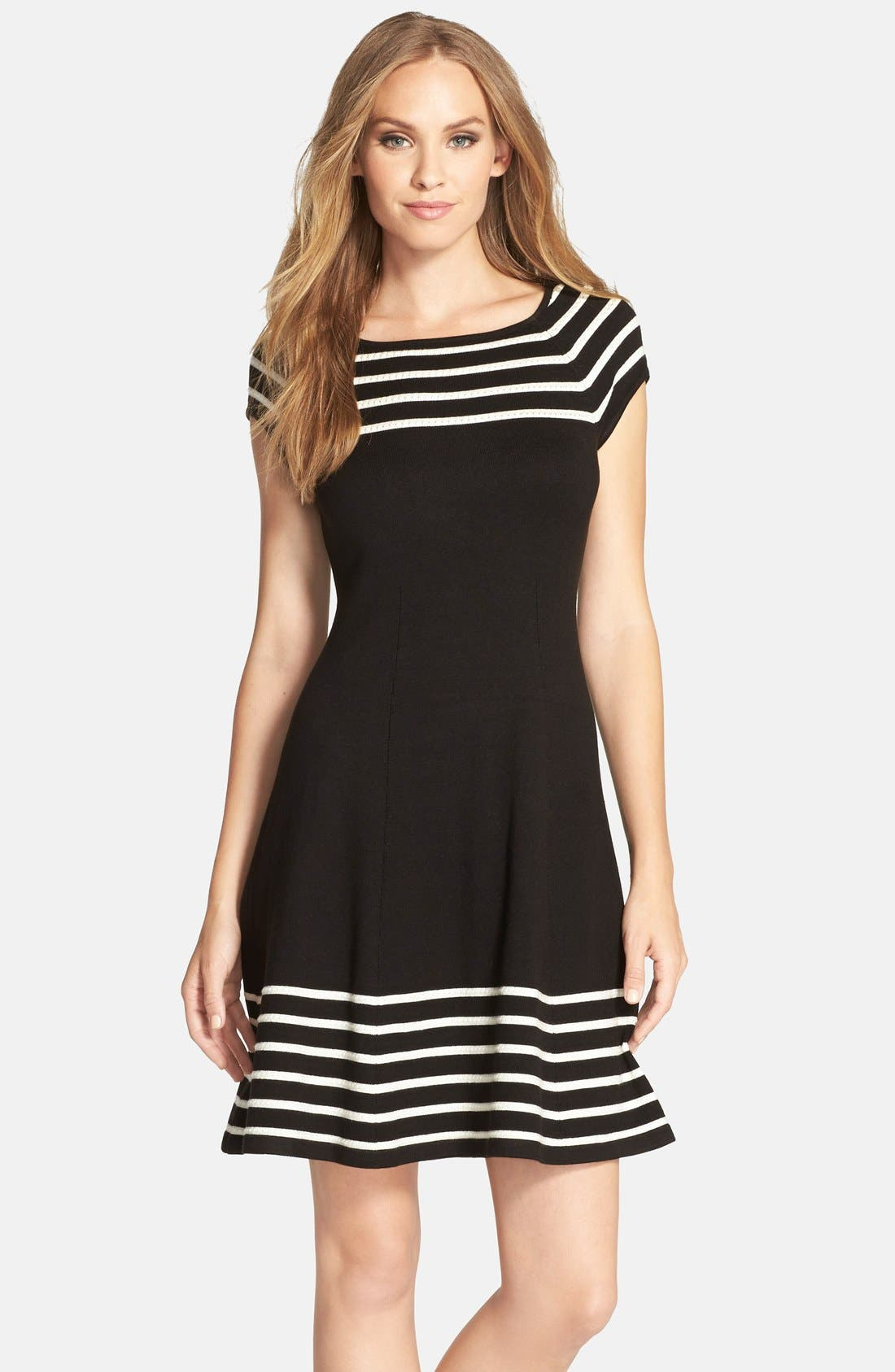 Stripe Knit Flared Dress,                             Main thumbnail 1, color,                             001