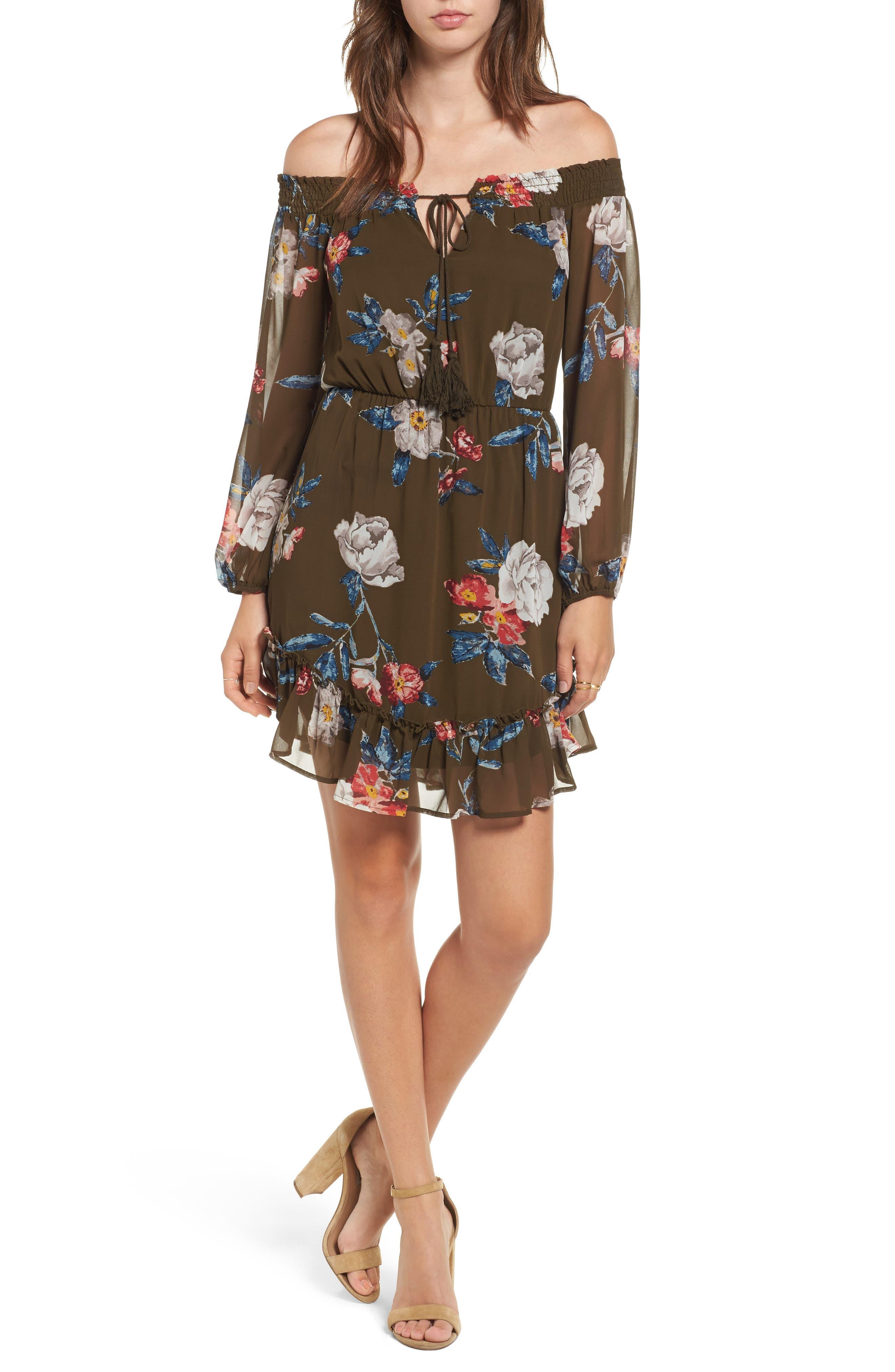 Floral Off the Shoulder Dress,                         Main,                         color, 300