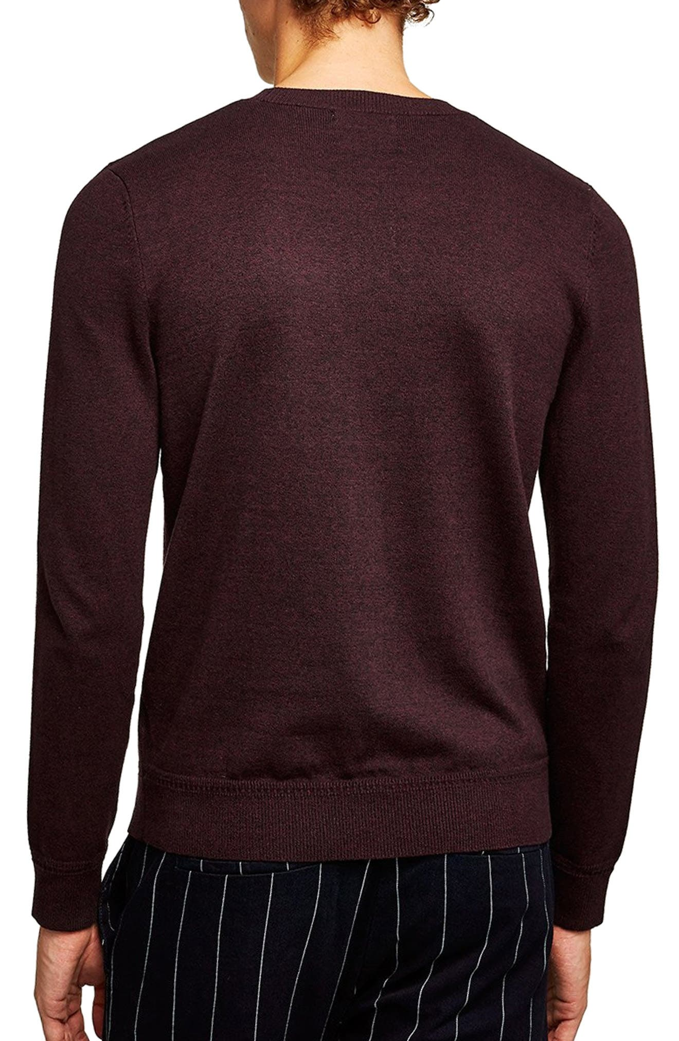 Classic Crewneck Sweater,                             Alternate thumbnail 2, color,                             BURGUNDY