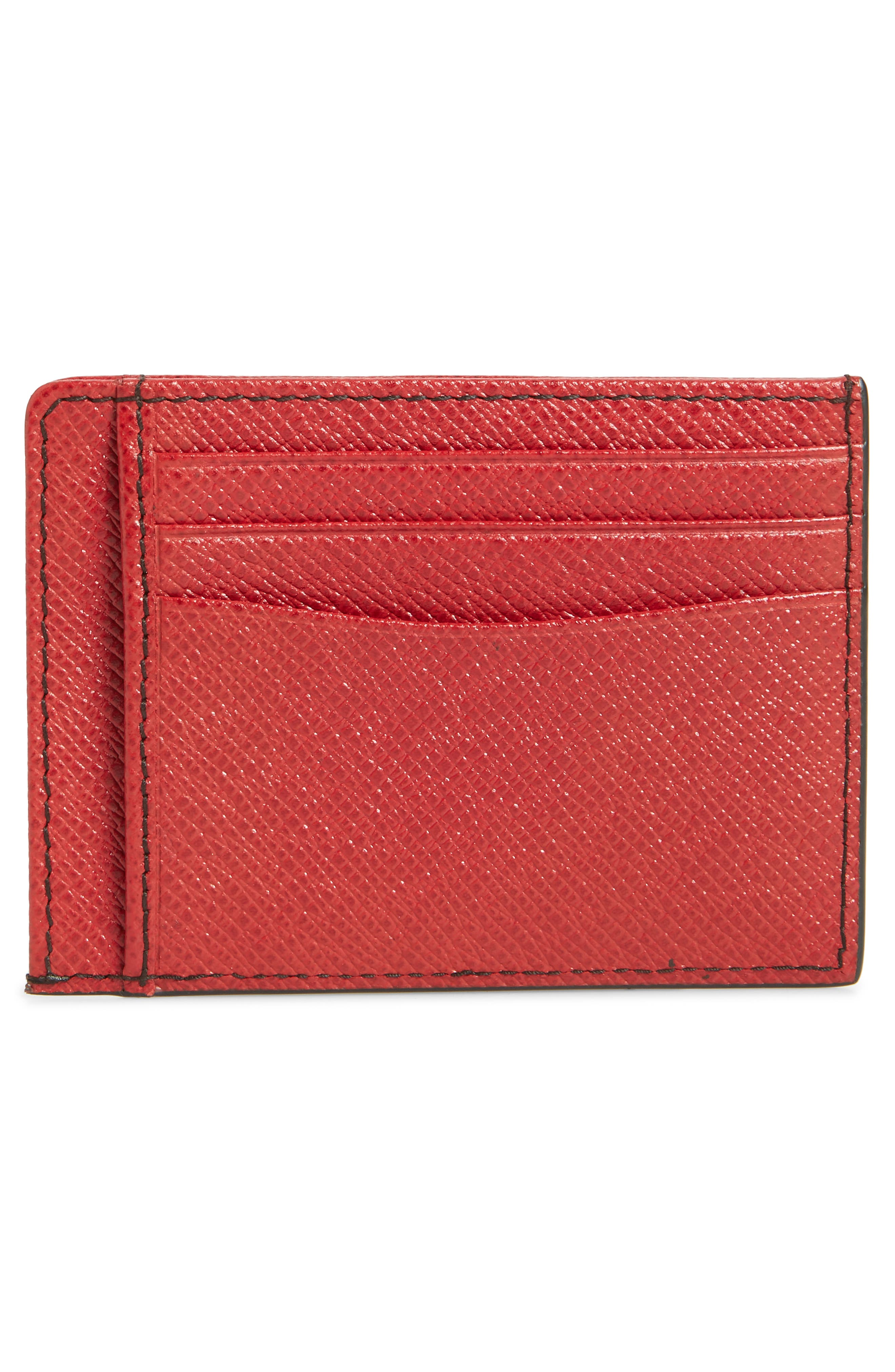 Embossed Leather Card Case,                             Alternate thumbnail 2, color,                             DARK RED