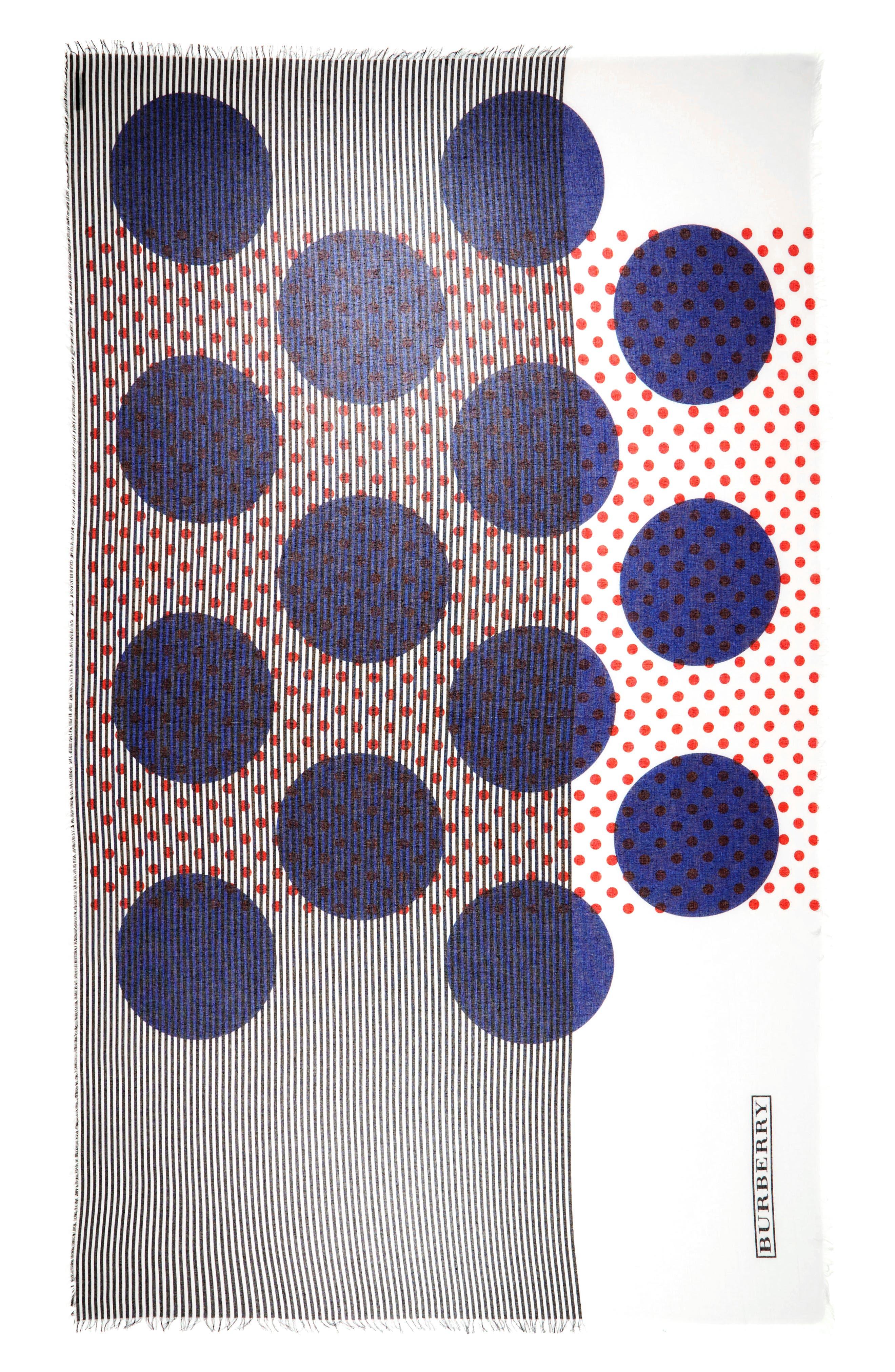 Half Stripe Dot Cotton & Silk Scarf,                             Main thumbnail 1, color,                             400