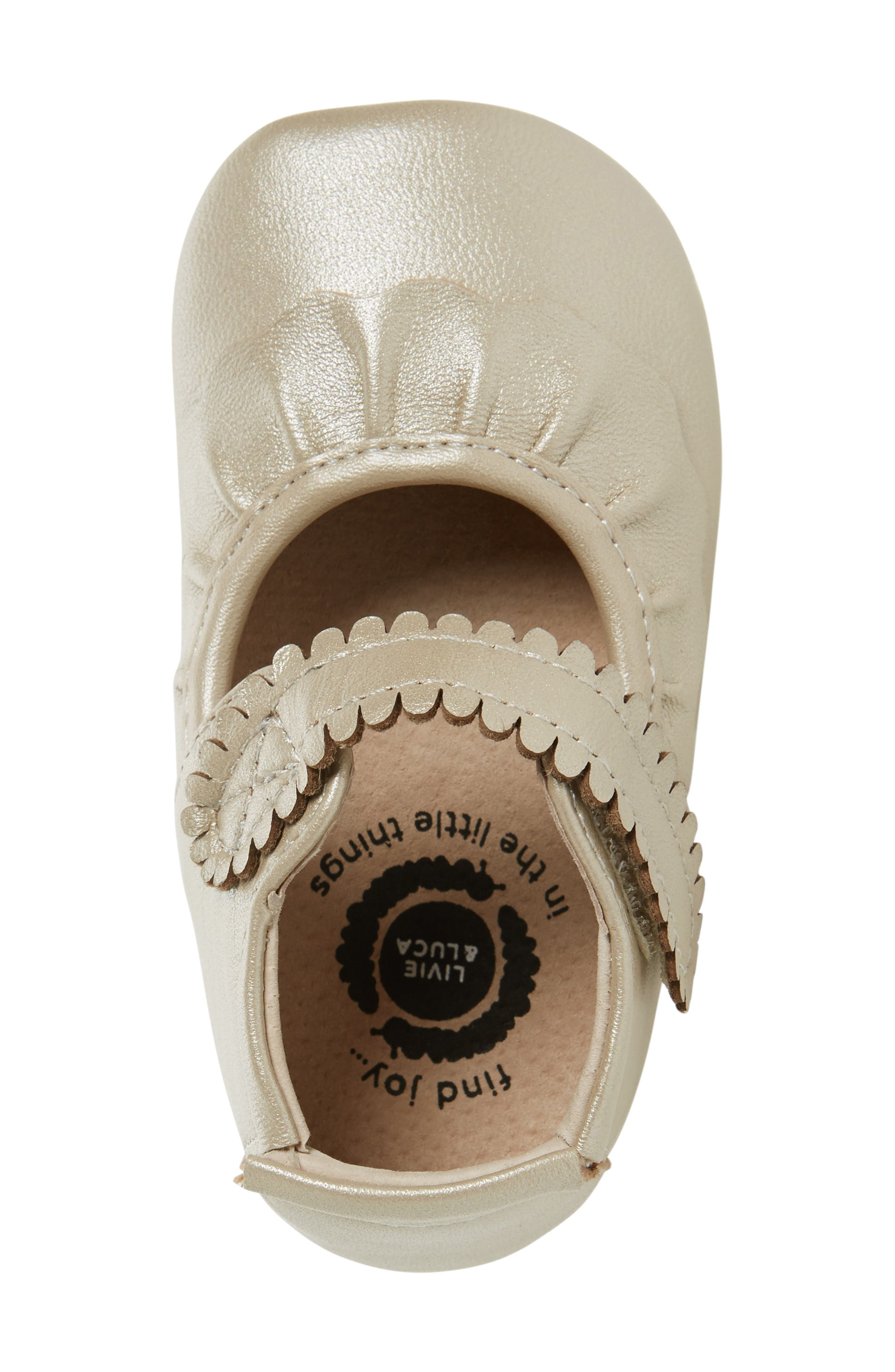 'Ruche' Mary Jane Crib Shoe,                             Alternate thumbnail 3, color,                             CHAMPAGNE LEATHER