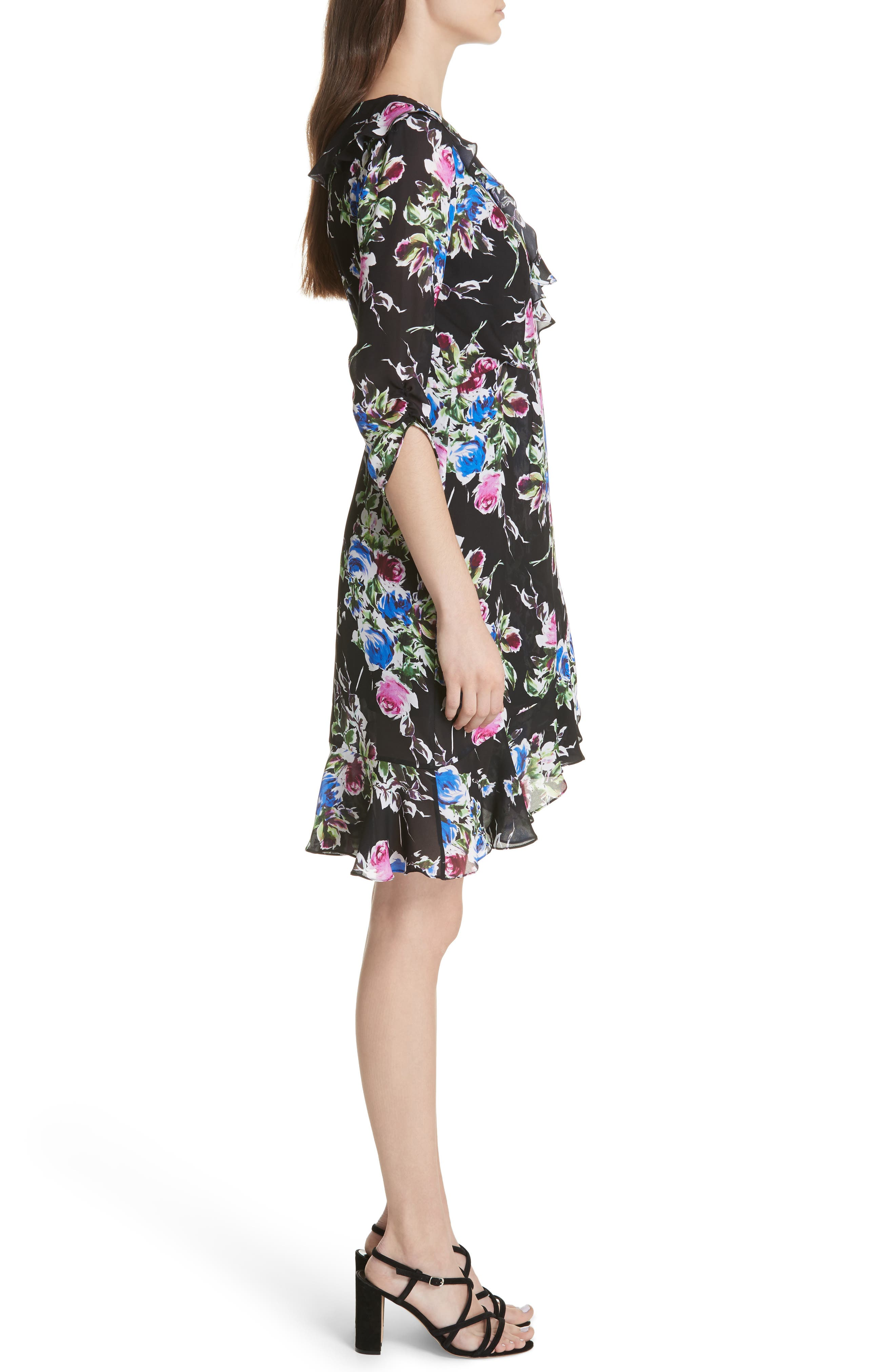 Audrey Floral Silk Wrap Dress,                             Alternate thumbnail 3, color,                             001