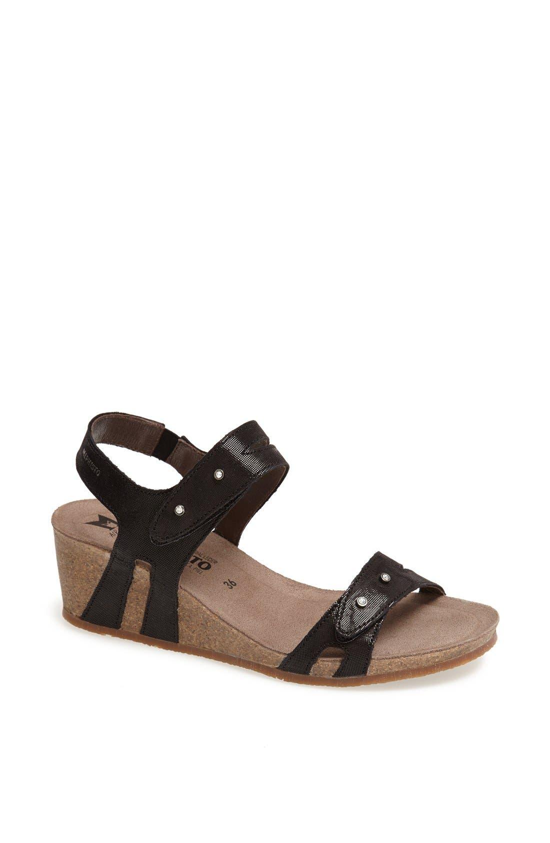 'Minoa' Wedge Sandal,                             Main thumbnail 1, color,                             BLACK